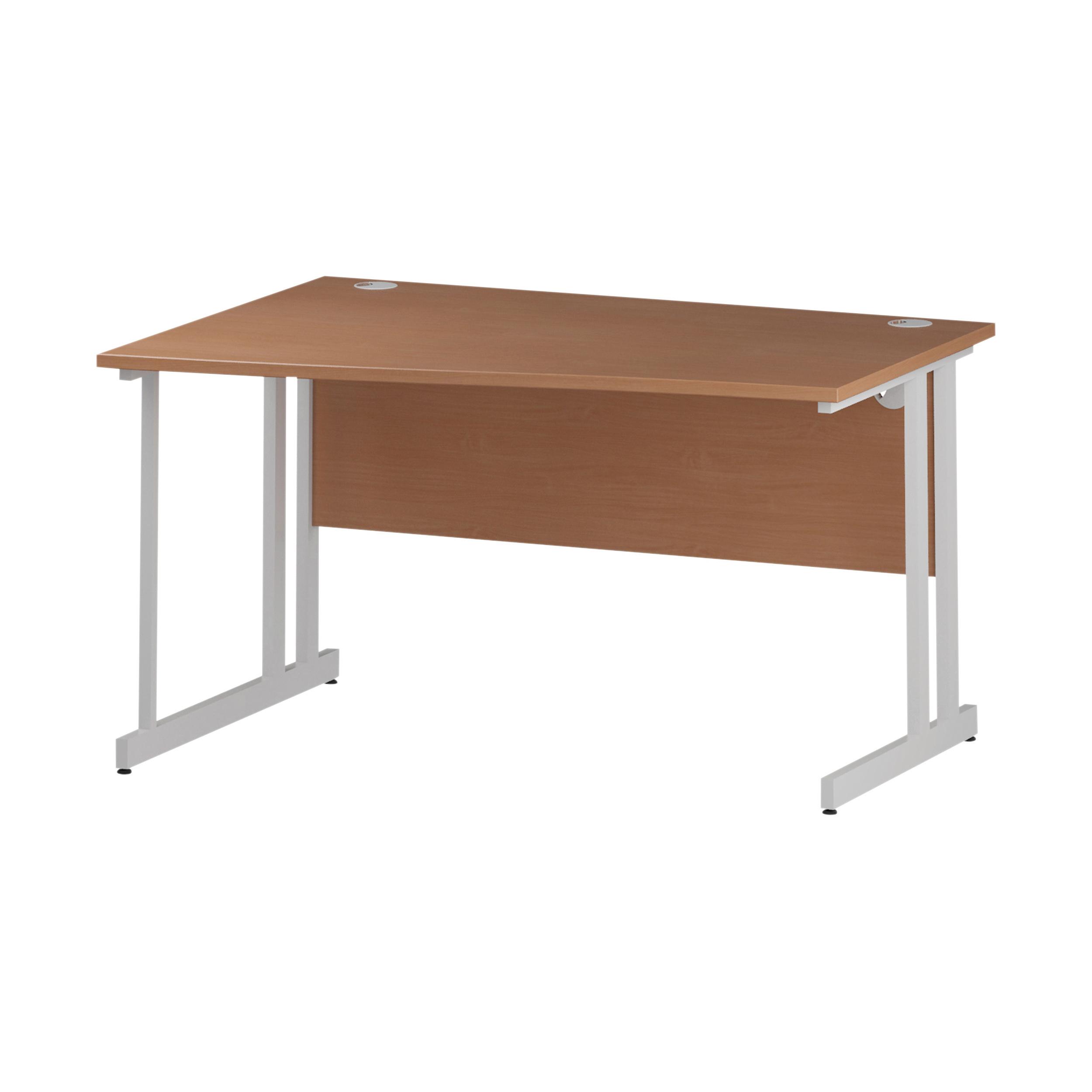 Trexus Wave Desk Left Hand White Cantilever Leg 1400mm Beech Ref I001824