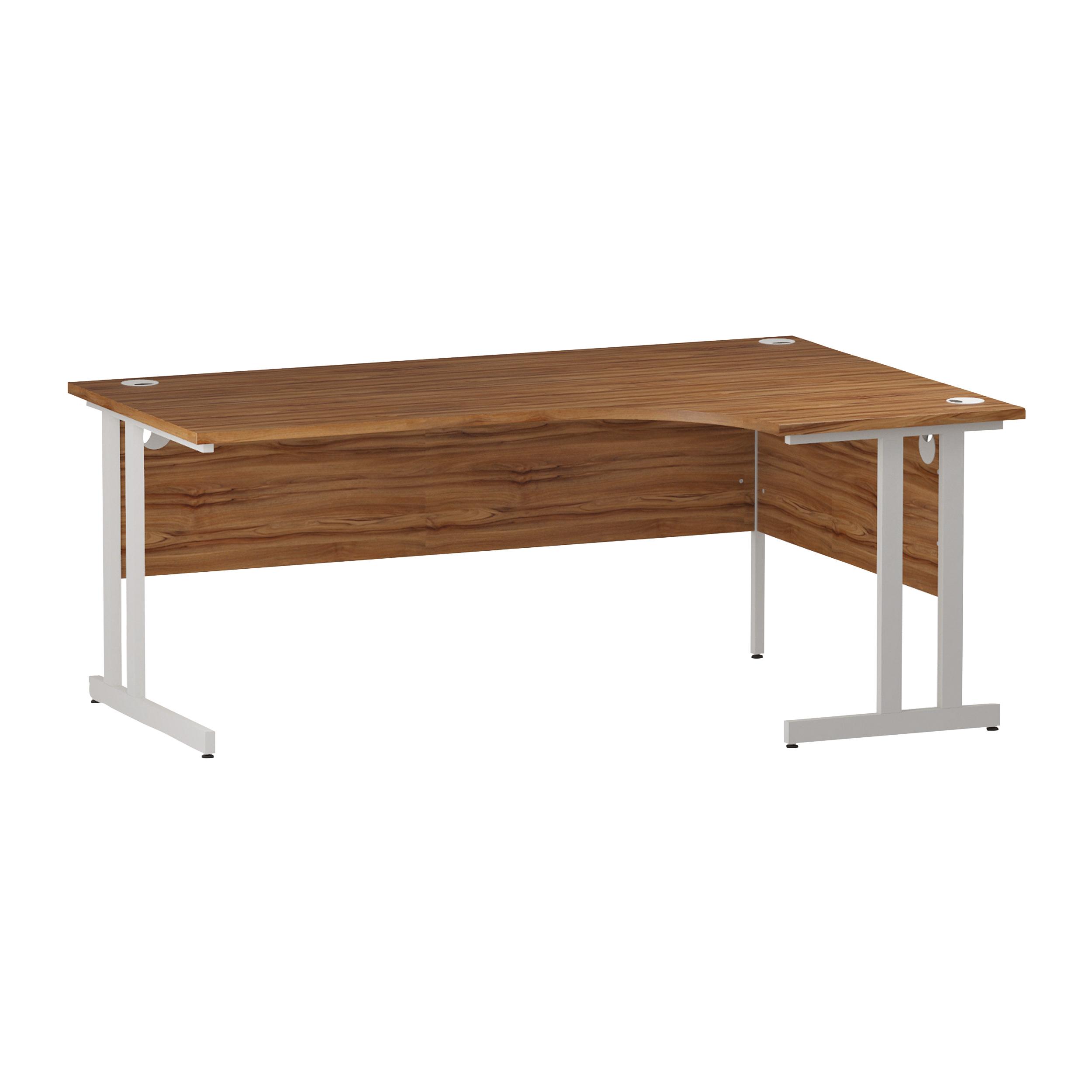 Trexus Radial Desk Right Hand White Cantilever Leg 1800mm Walnut Ref I002137