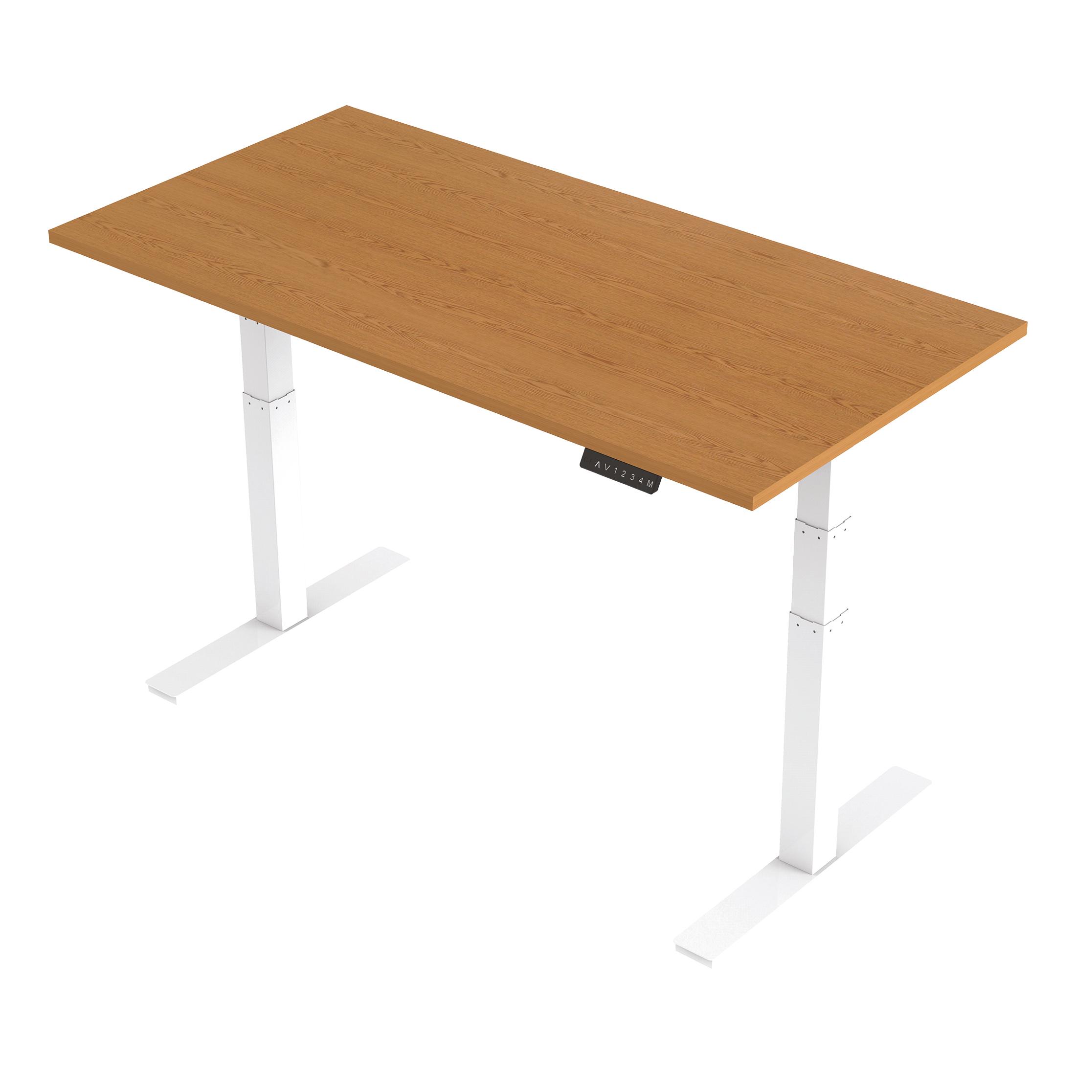 Trexus Sit Stand Desk Height-adjustable White Leg Frame 1600/800mm Oak Ref HA01039