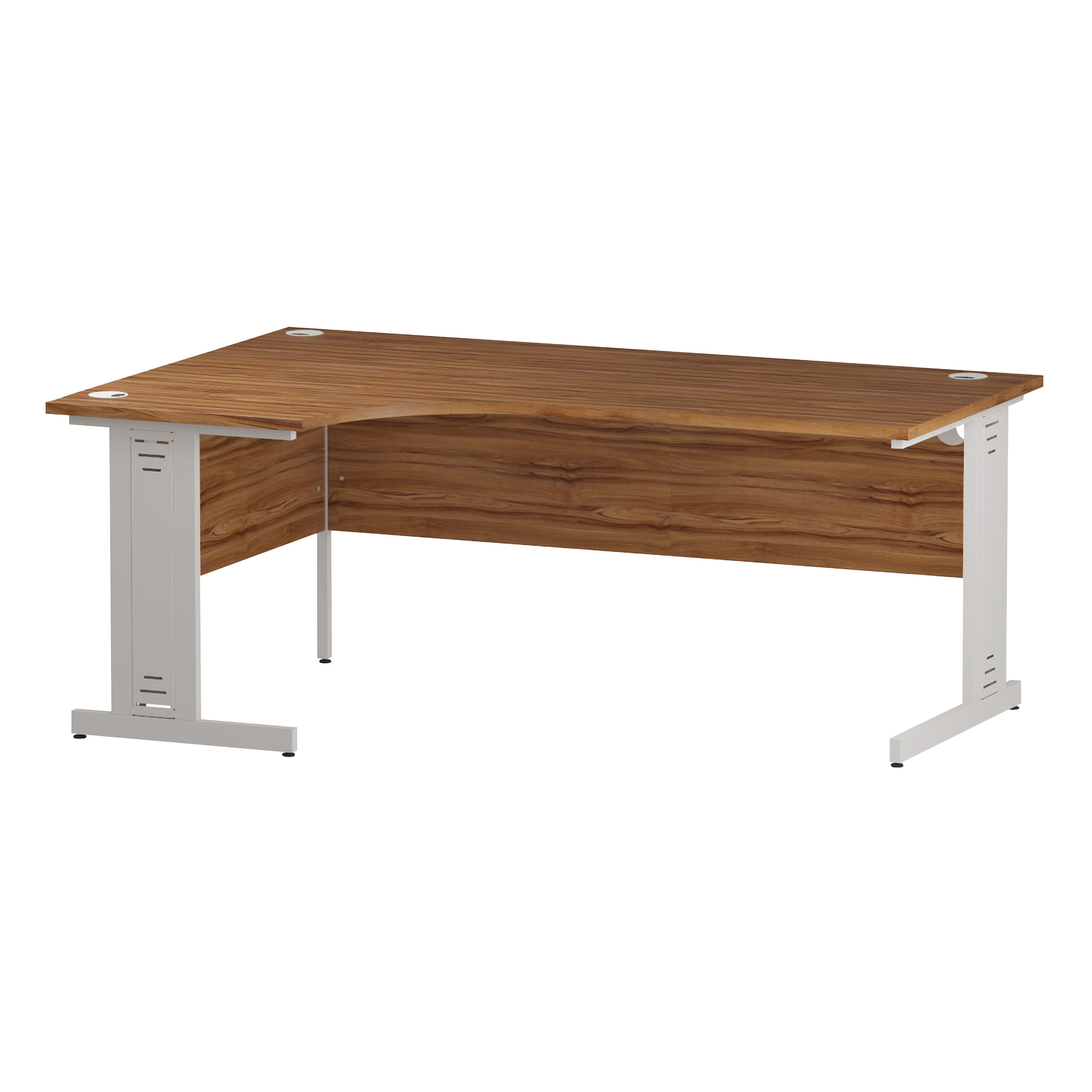 Trexus Radial Desk Left Hand White Cable Managed Leg 1800/1200mm Walnut Ref I002148
