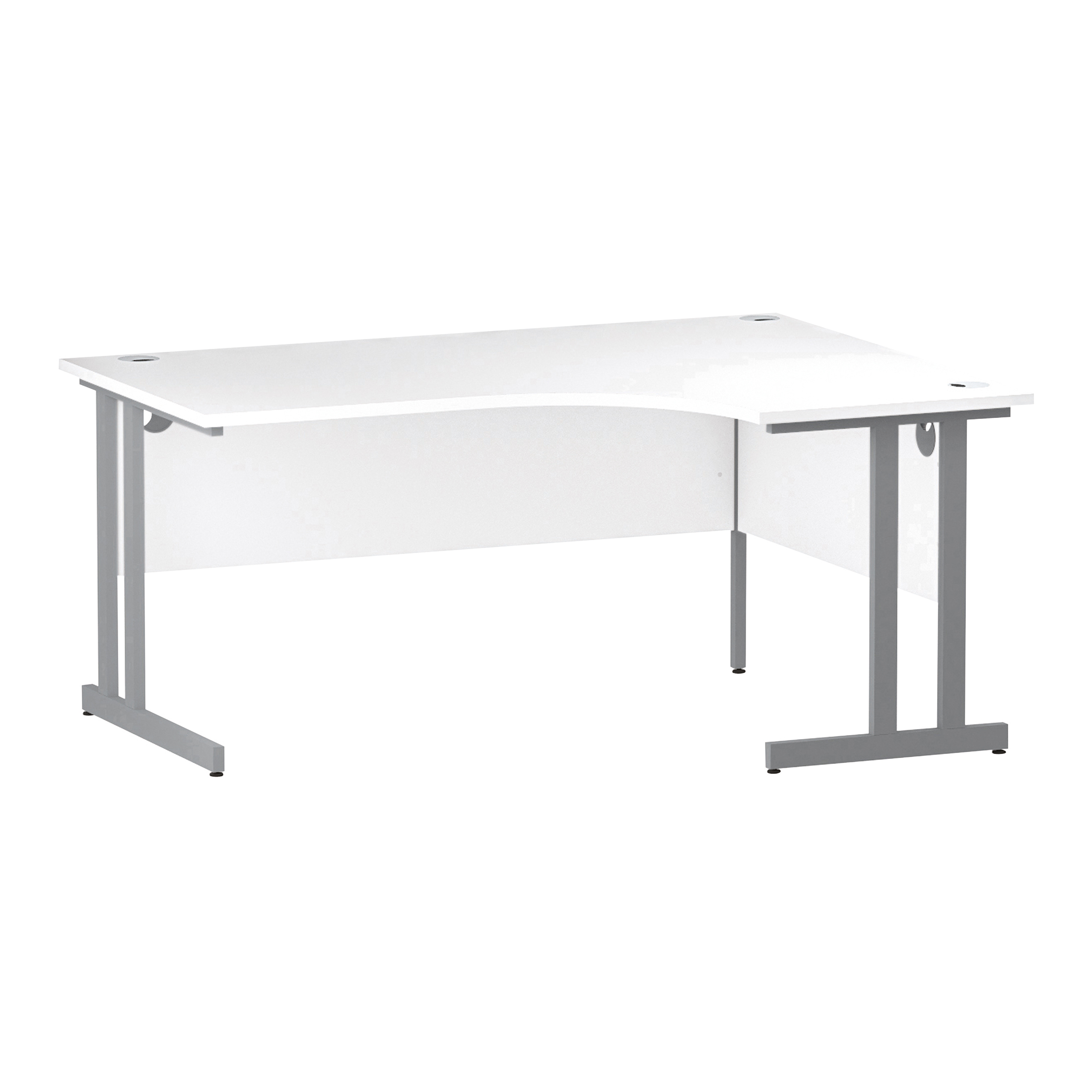 Trexus Radial Desk Right Hand Silver Cantilever Leg 1600mm White Ref I000322