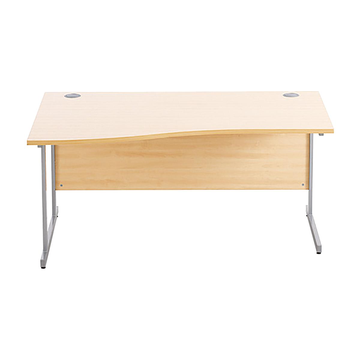 Sonix Premium Wave Desk Left Hand Silver Cantilever Leg 1600mm Acer Maple Ref w9978lm