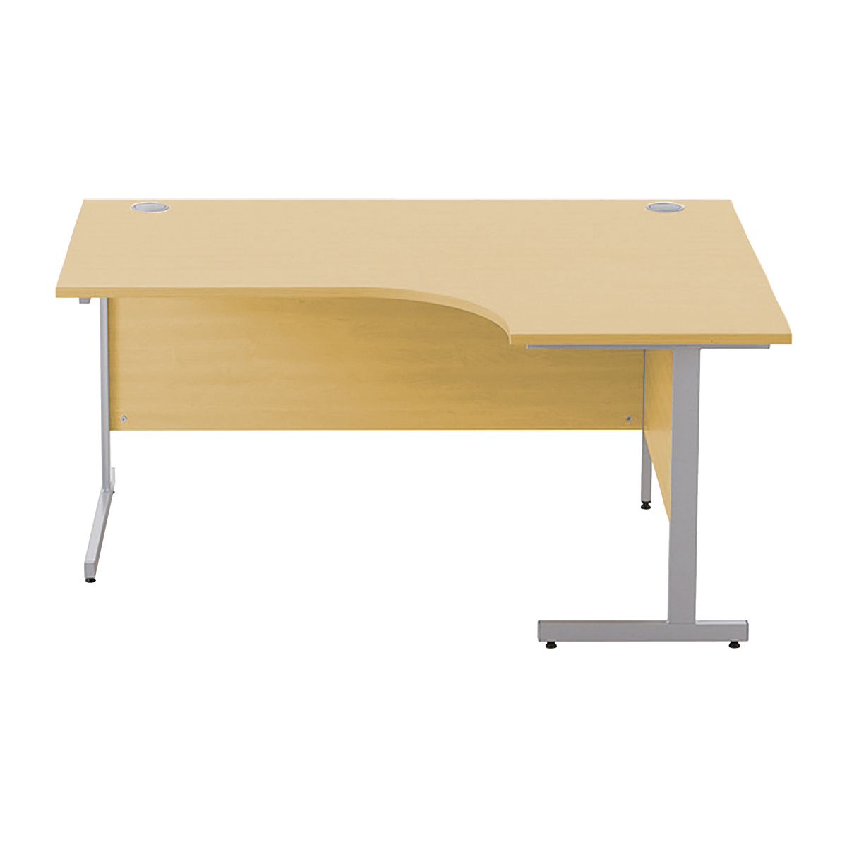 Sonix Premium Radial Desk Right Hand Silver Cantilever Leg 1600mm Natural Oak Ref w9970ro