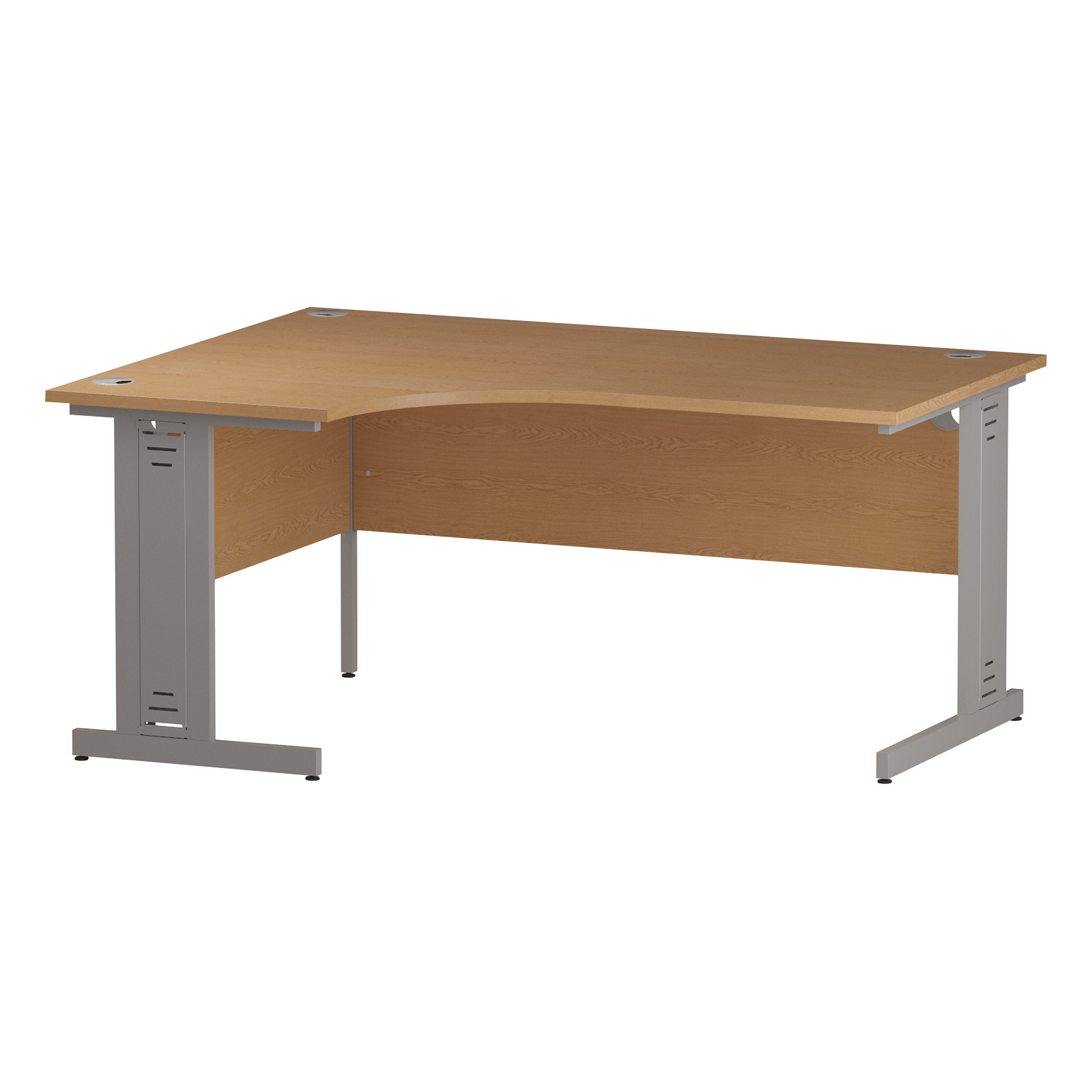 Trexus Radial Desk Left Hand Silver Cable Managed Leg 1600/1200mm Oak Ref I000863