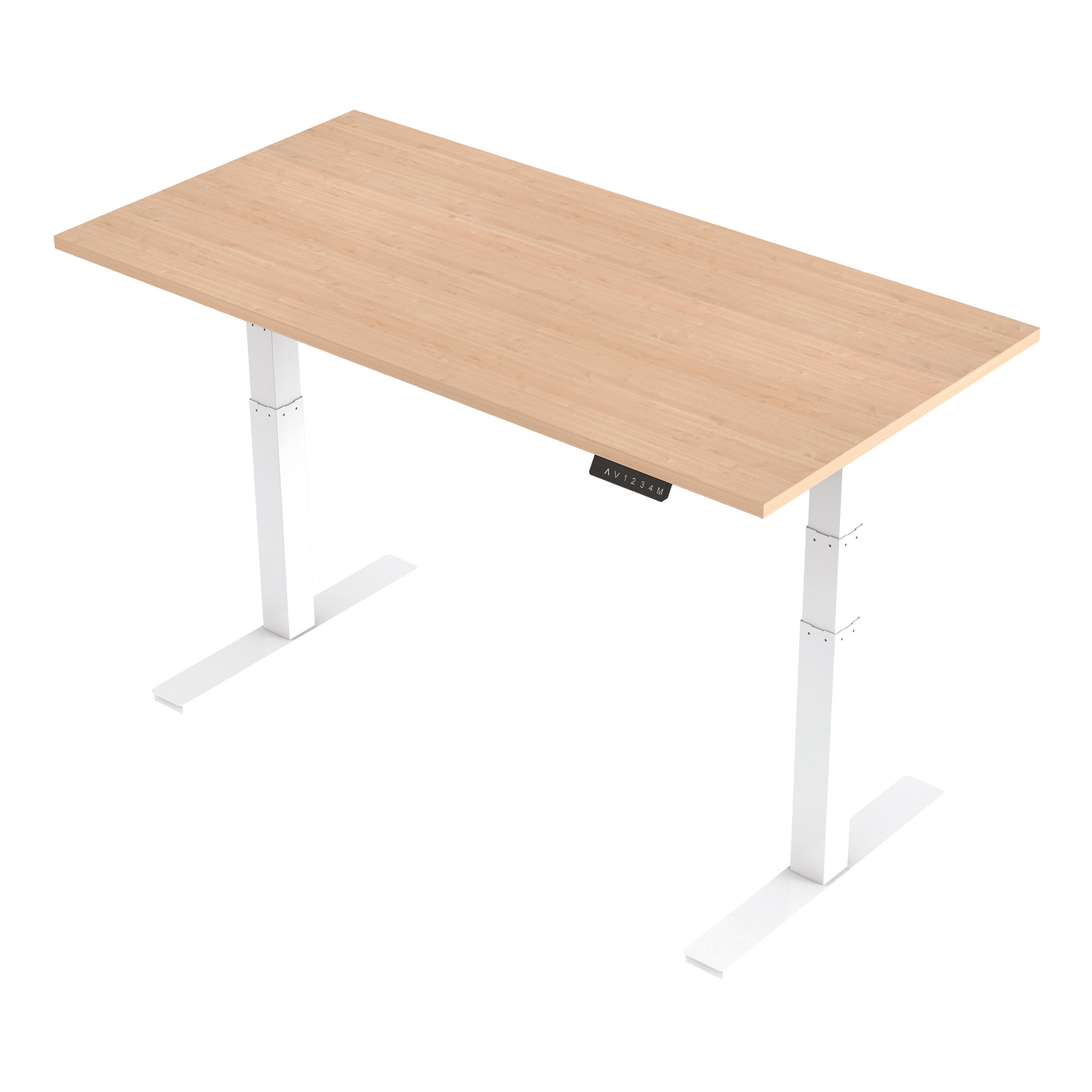 Trexus Sit Stand Desk Height-adjustable White Leg Frame 1600/800mm Maple Ref HA01035