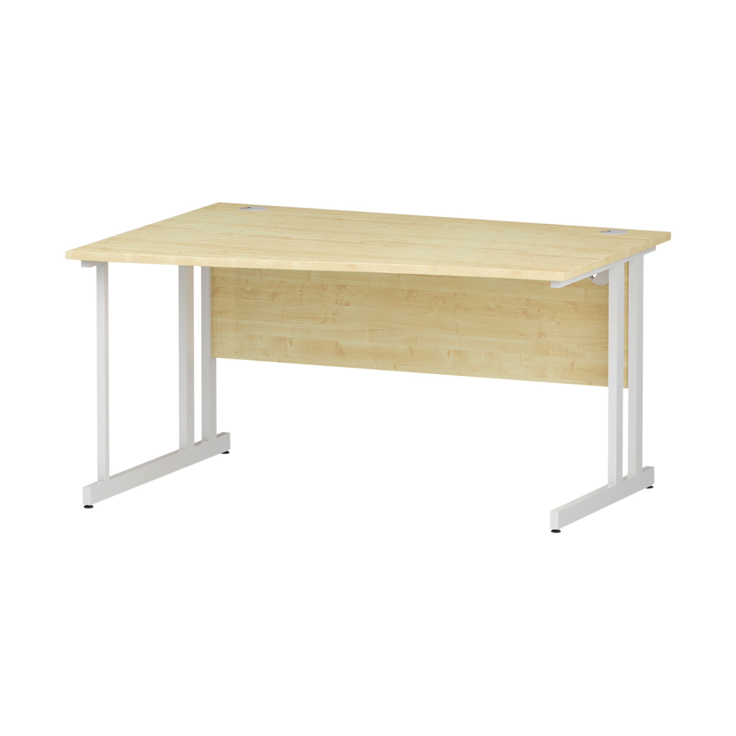 Trexus Wave Desk Left Hand White Cantilever Leg 1400mm Maple Ref I002567
