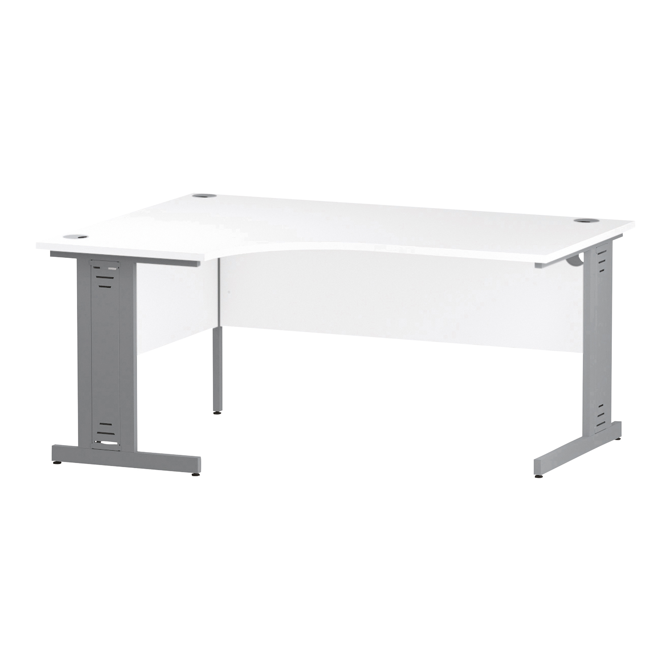 Trexus Radial Desk Left Hand Silver Cable Managed Leg 1600/1200mm White Ref I000491