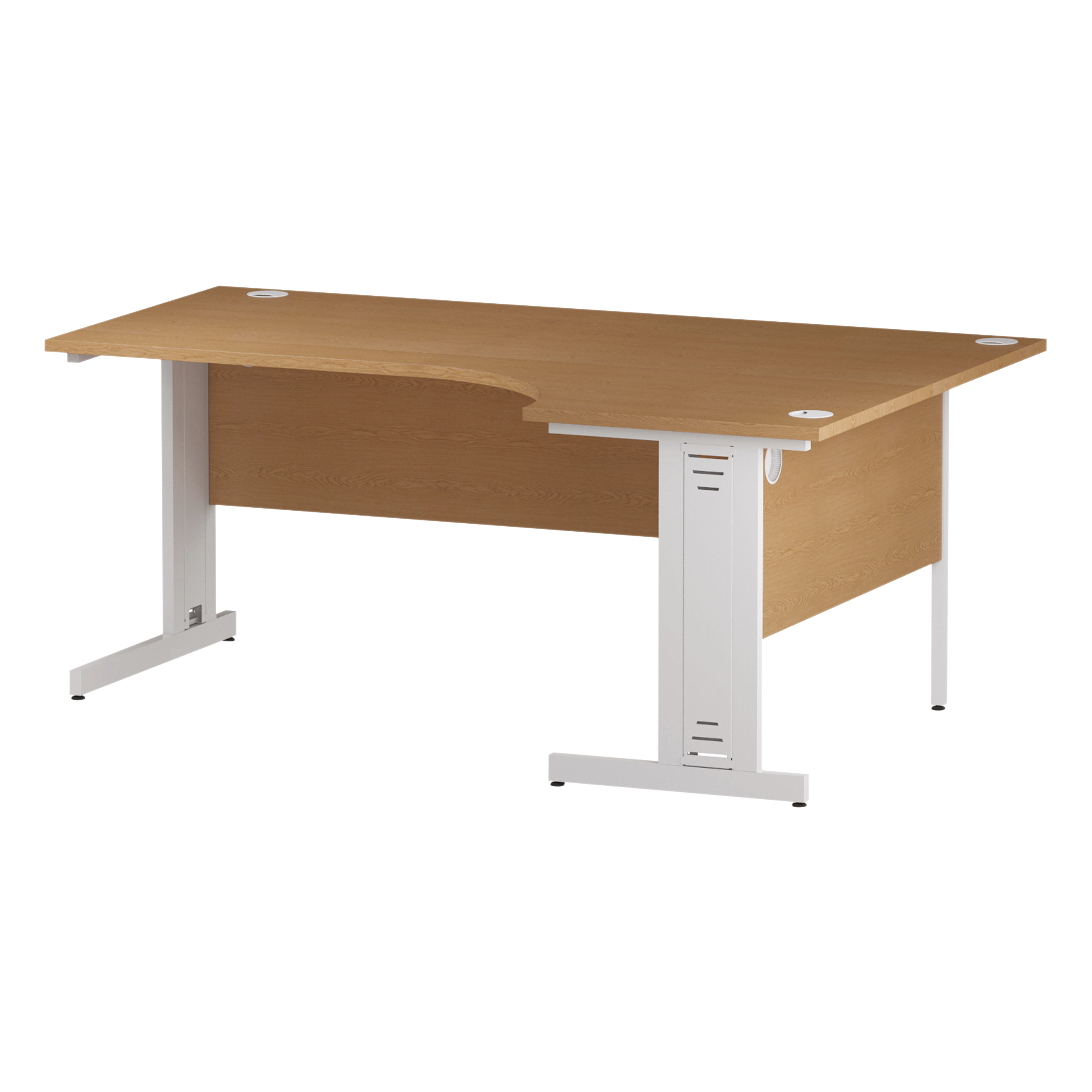 Trexus Radial Desk Right Hand White Cable Managed Leg 1800/1200mm Oak Ref I002851