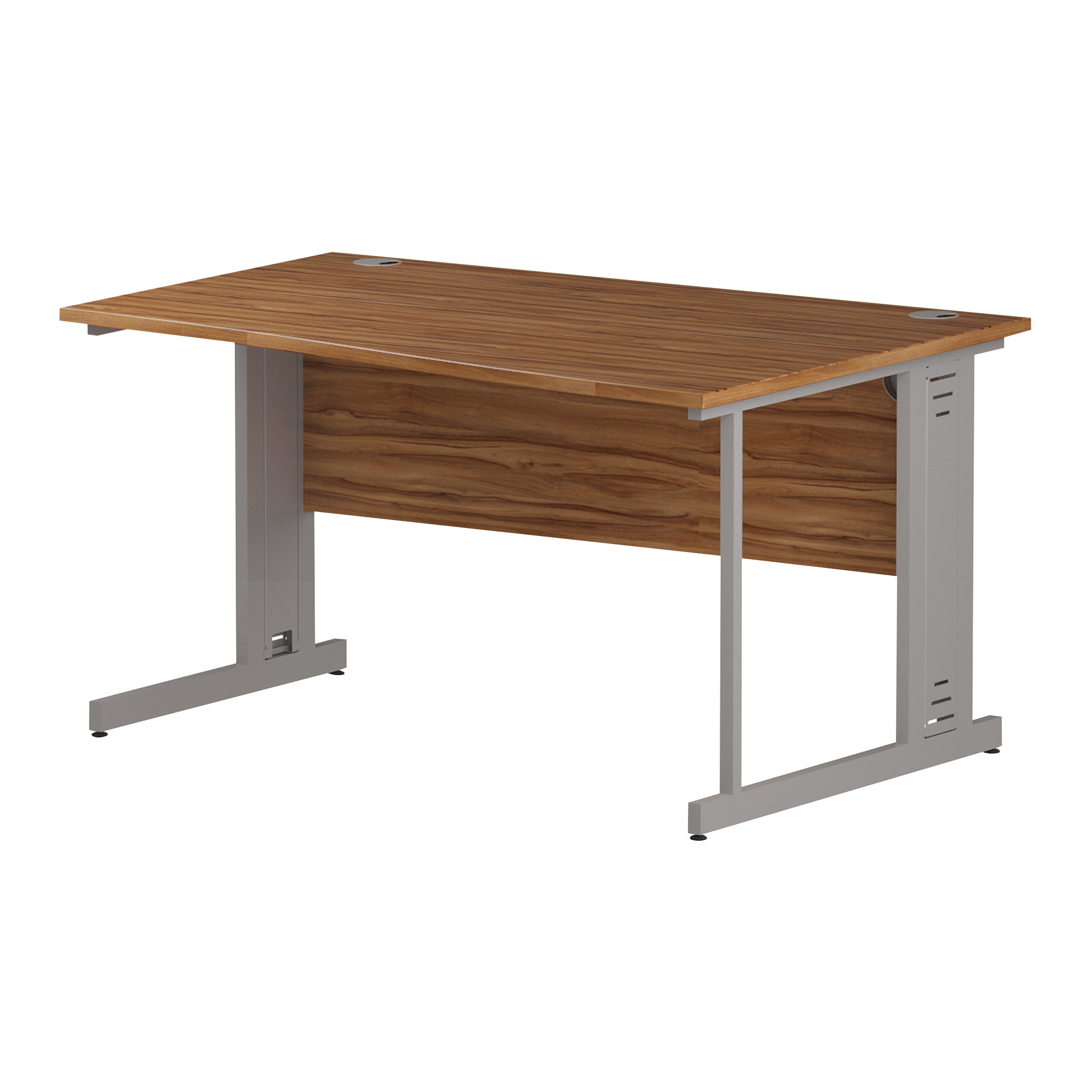 Trexus Wave Desk Right Hand Silver Cable Managed Leg 1400mm Walnut Ref I002078
