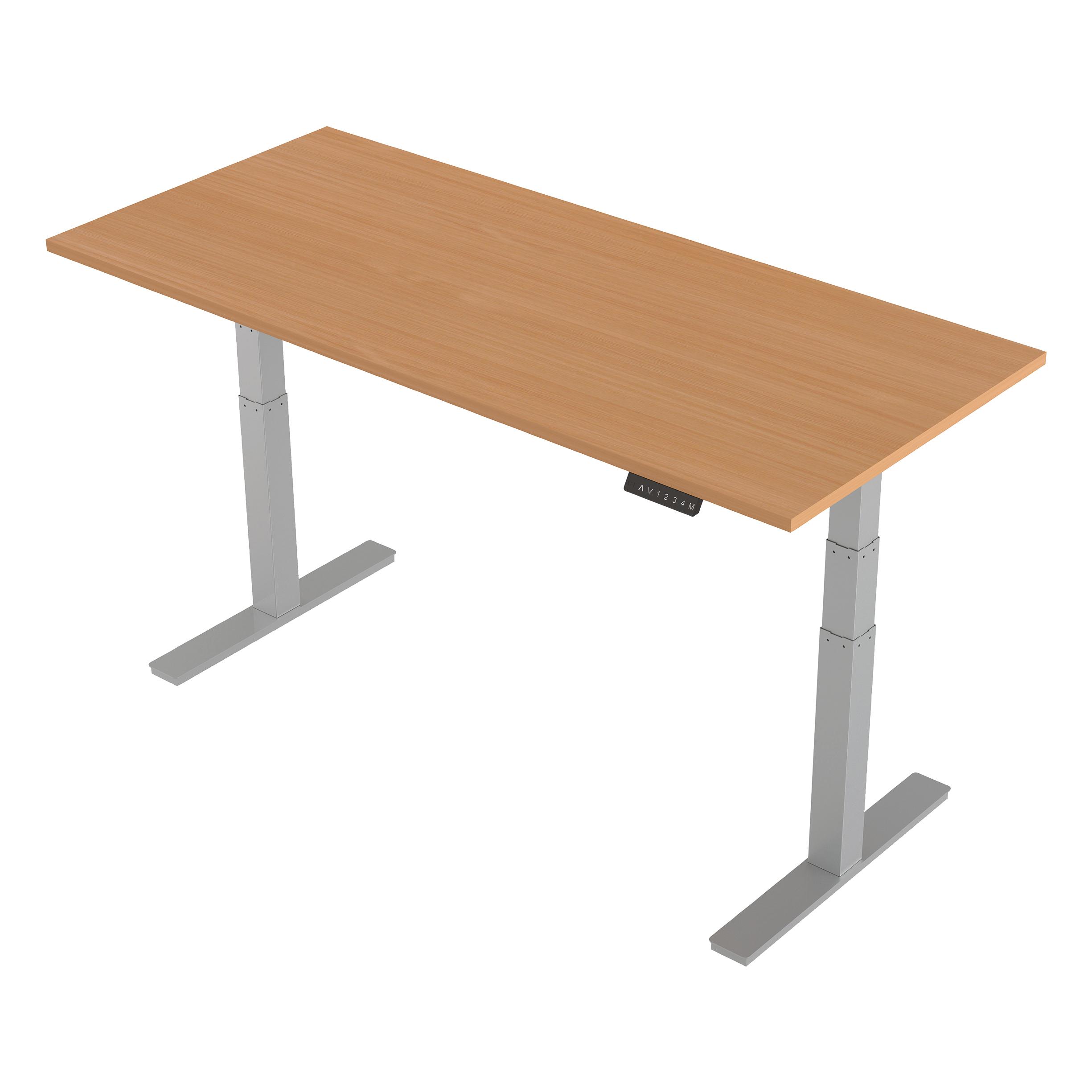 Trexus Sit-Stand Desk Height-adjustable Silver Leg Frame 1800/800mm Beech Ref HA01004