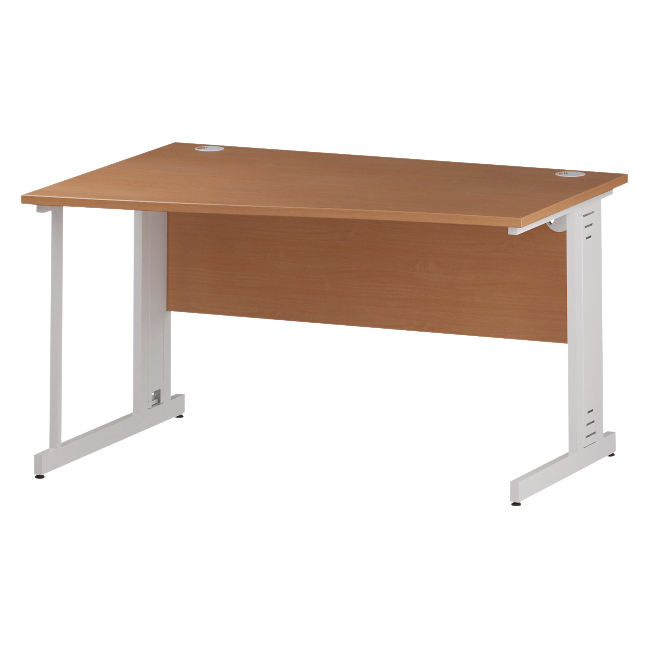 Trexus Wave Desk Left Hand White Cable Managed Leg 1400mm Beech Ref I001828