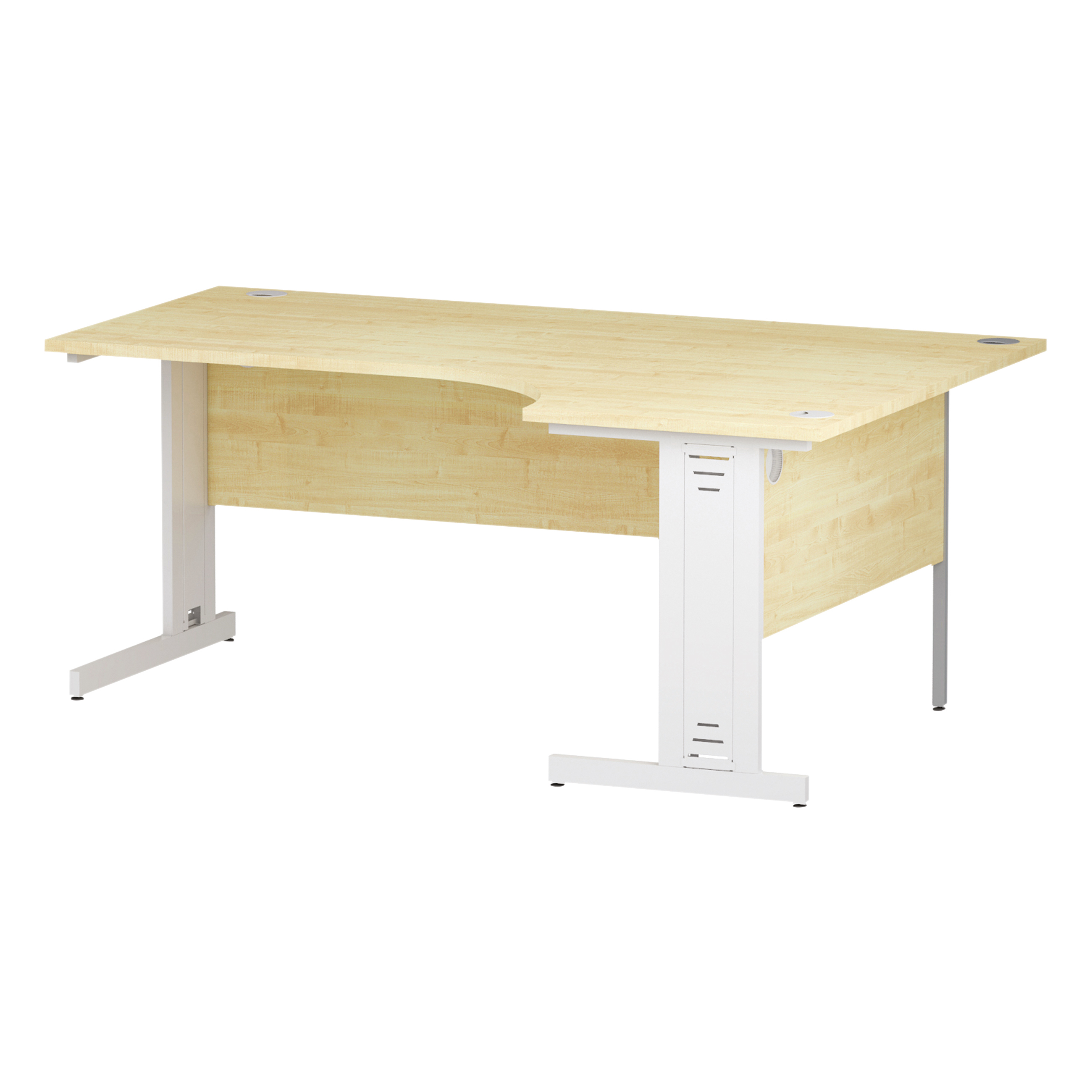 Trexus Radial Desk Right Hand White Cable Managed Leg 1800/1200mm Maple Ref I002625