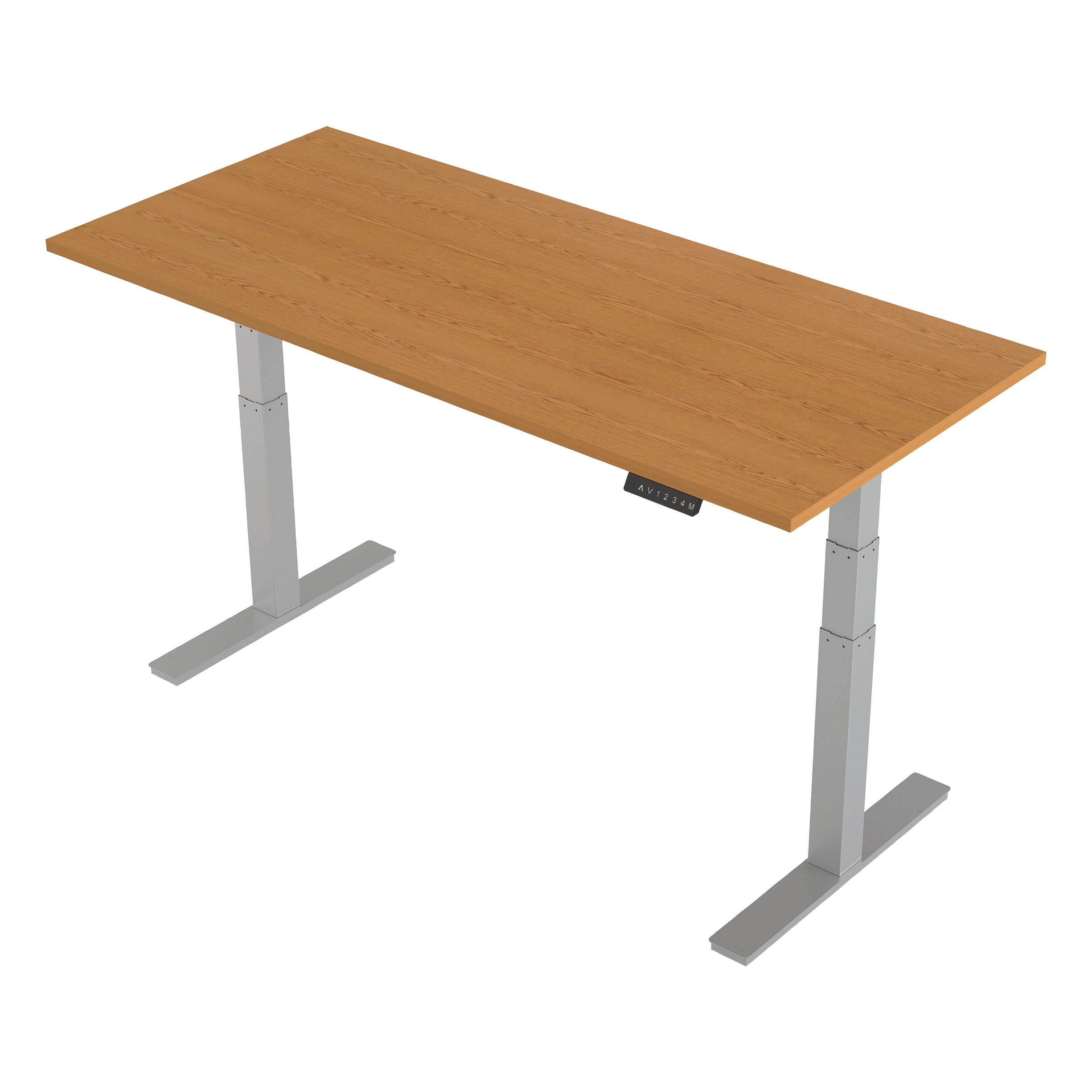 Trexus Sit-Stand Desk Height-adjustable Silver Leg Frame 1800/800mm Oak Ref HA01020