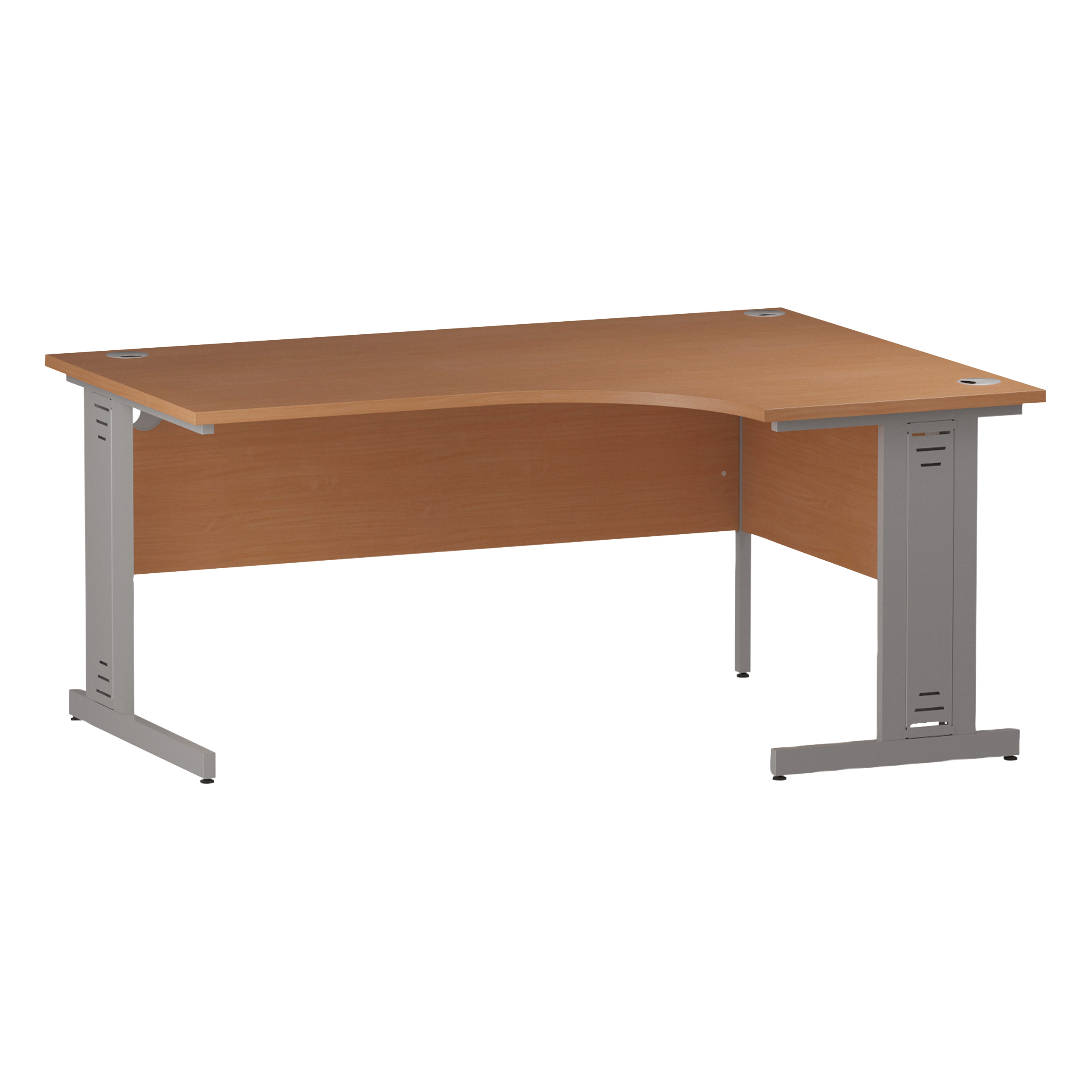 Trexus Radial Desk Right Hand Silver Cable Managed Leg 1600/1200mm Beech Ref I000473