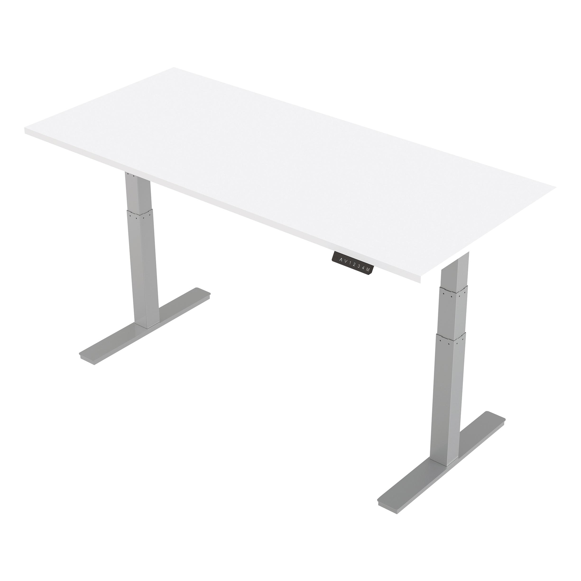 Trexus Sit-Stand Desk Height-adjustable Silver Leg Frame 1800/800mm White Ref HA01012