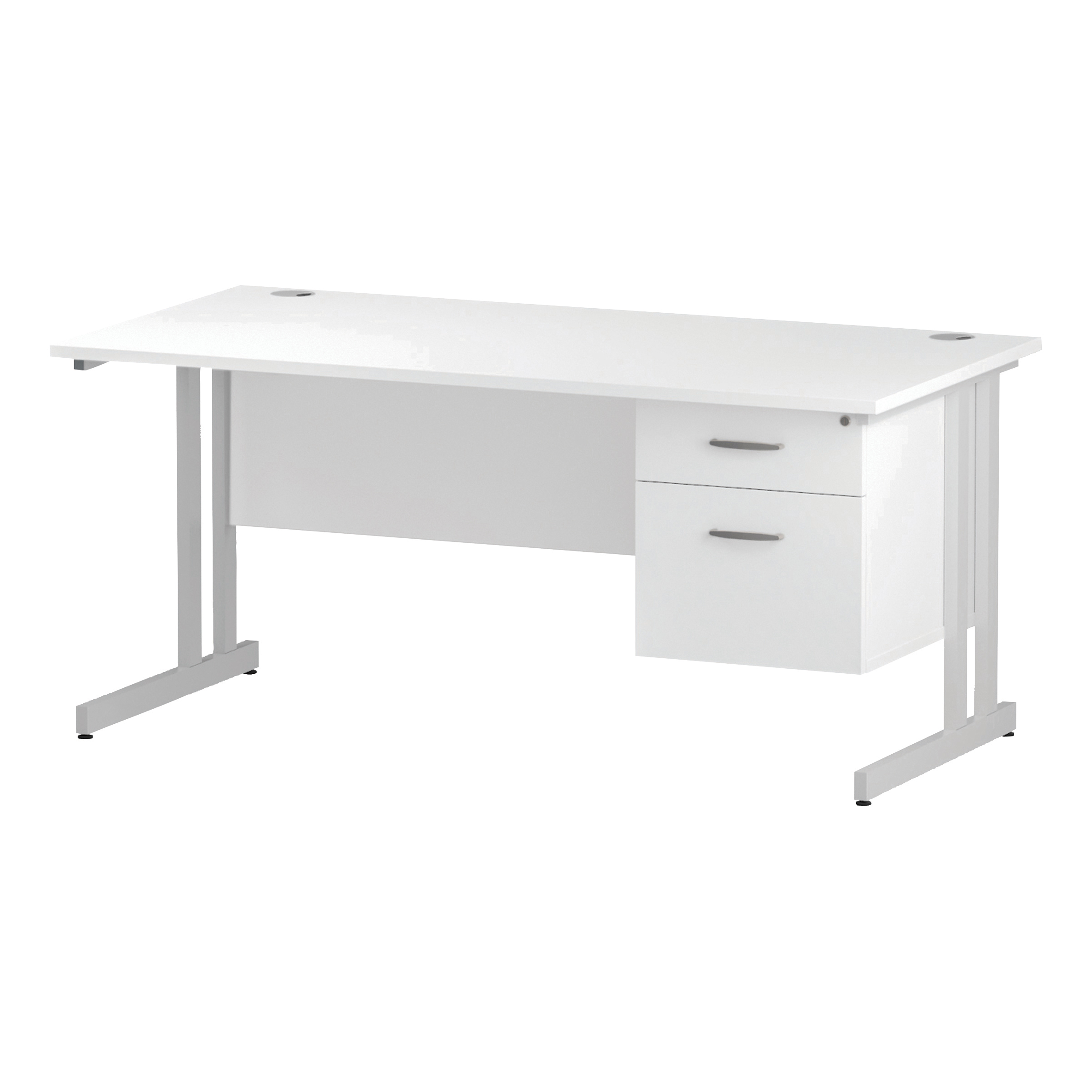 Trexus Rectangular Desk White Cantilever Leg 1600x800mm Fixed Pedestal 2 Drawers White Ref I002211