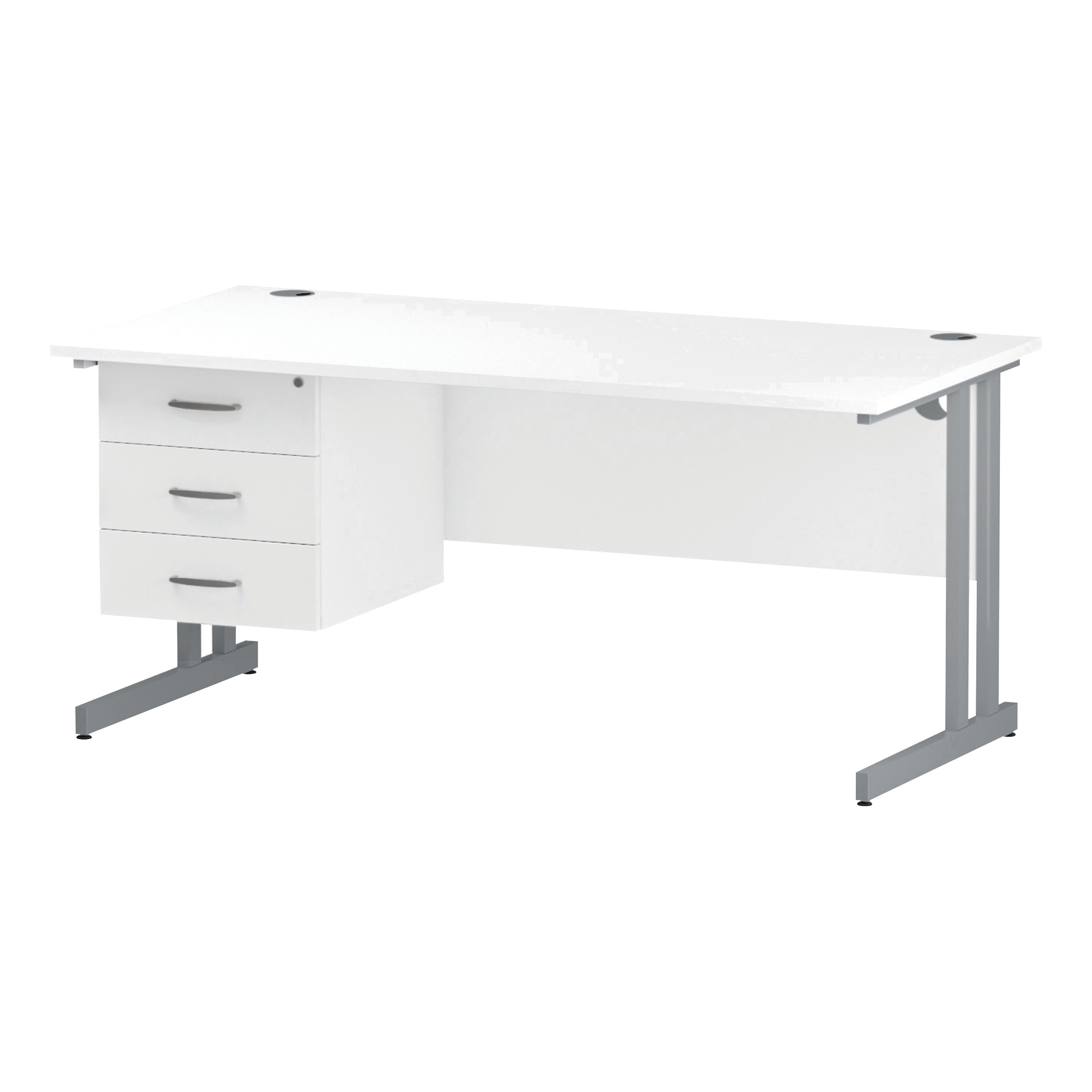 Trexus Rectangular Desk Silver Cantilever Leg 1600x800mm Fixed Pedestal 3 Drawers White Ref I002215
