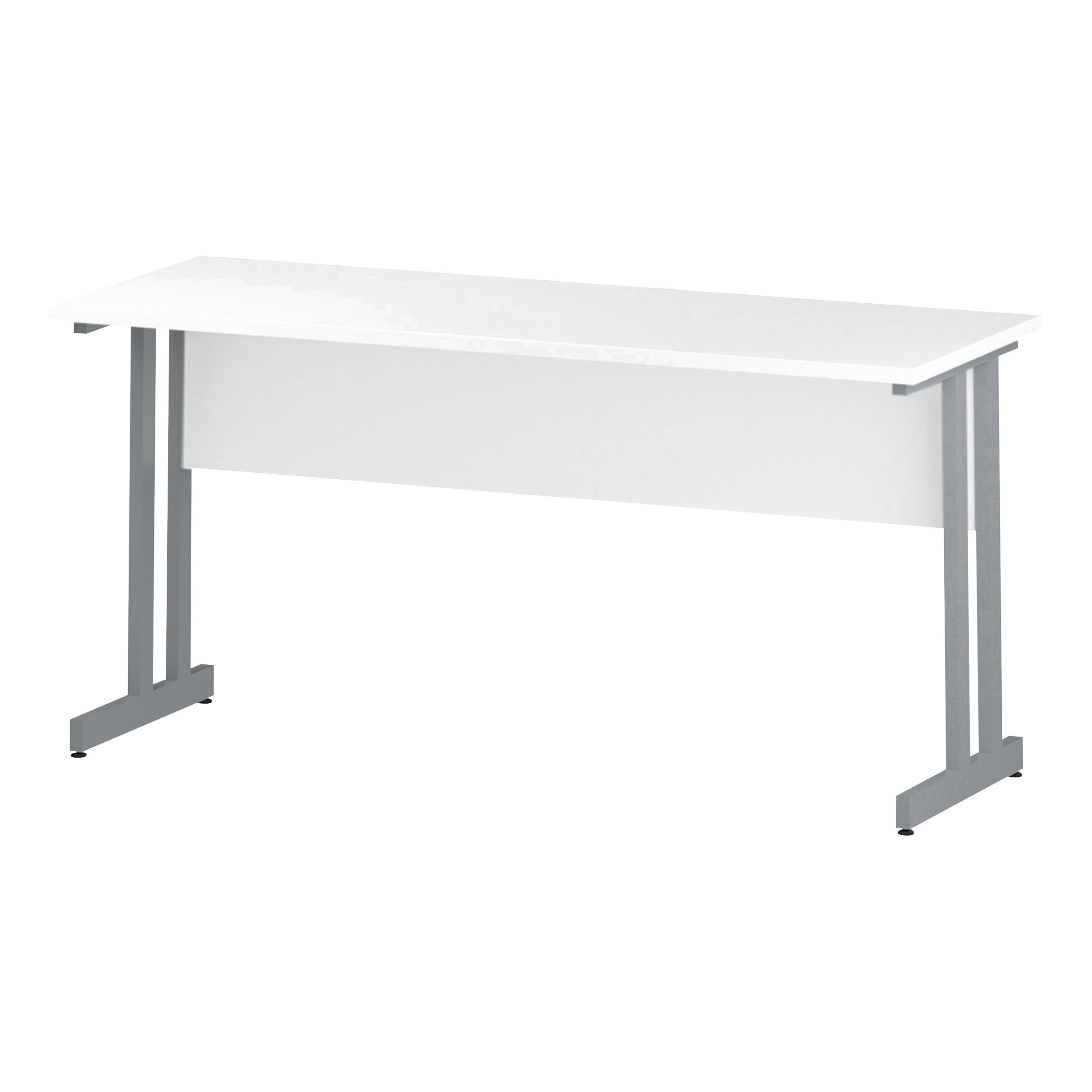 Trexus Rectangular Slim Desk Silver Cantilever Leg 1600x600mm White Ref I002198