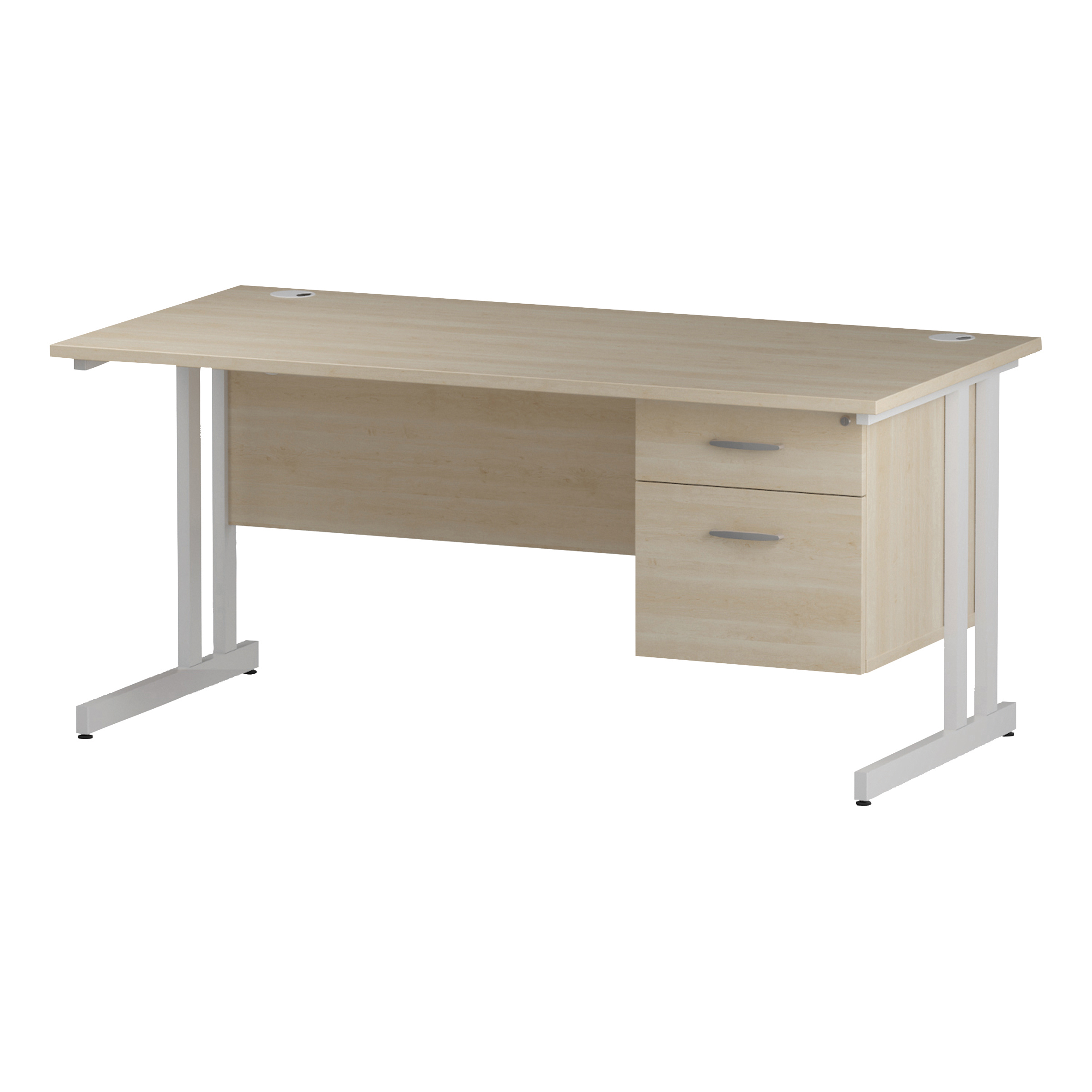 Trexus Rectangular Desk White Cantilever Leg 1600x800mm Fixed Pedestal 2 Drawers Maple Ref I002437
