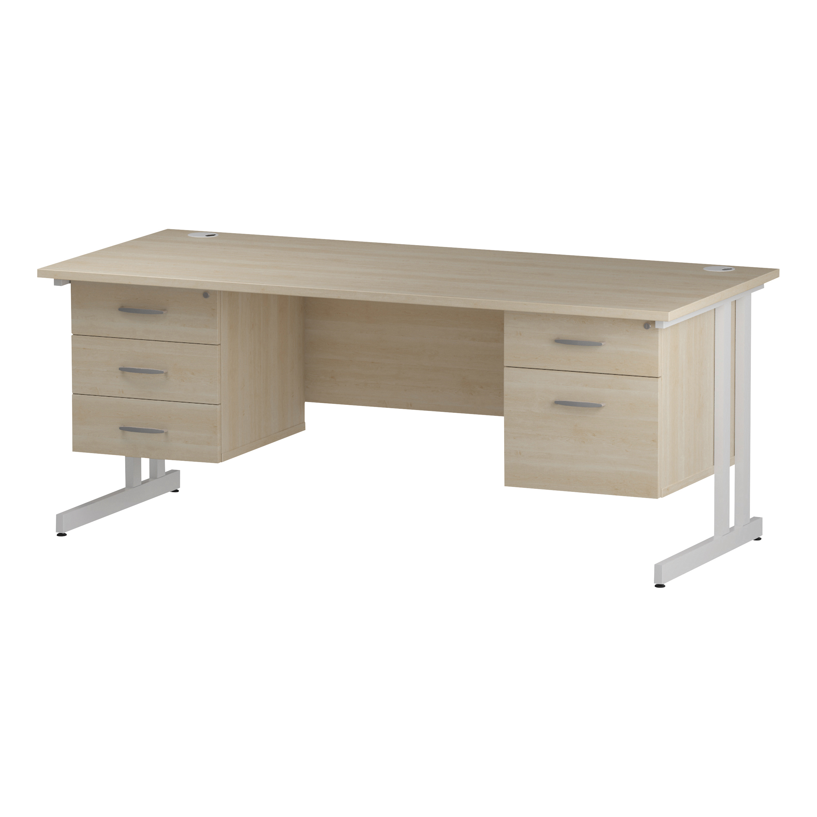 Trexus Rectangular Desk White Cantilever Leg 1800x800mm Double Fixed Ped 2&3 Drawers Maple Ref I002470
