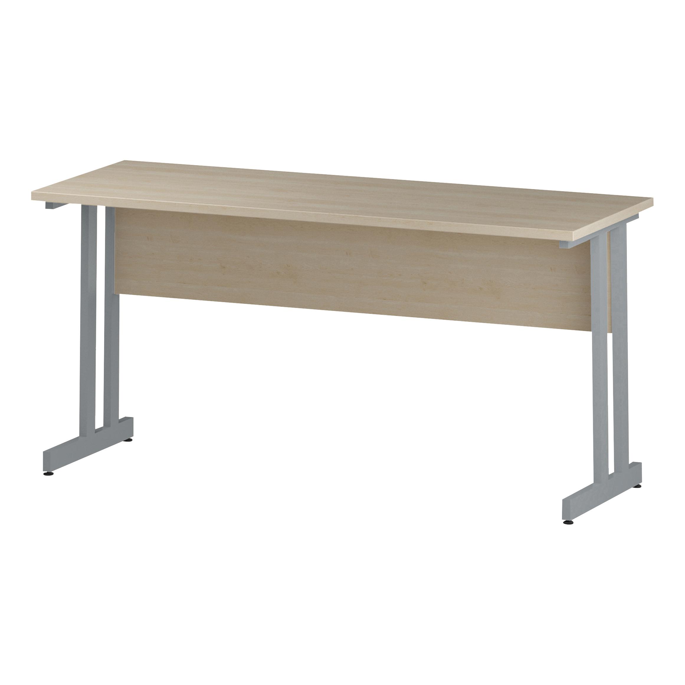 Image for Trexus Rectangular Slim Desk Silver Cantilever Leg 1600x600mm Maple Ref I002424