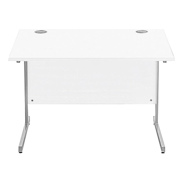 Sonix Rectangular Desk Silver Cantilever Leg 1000x800mm Polar White Ref w9690wh