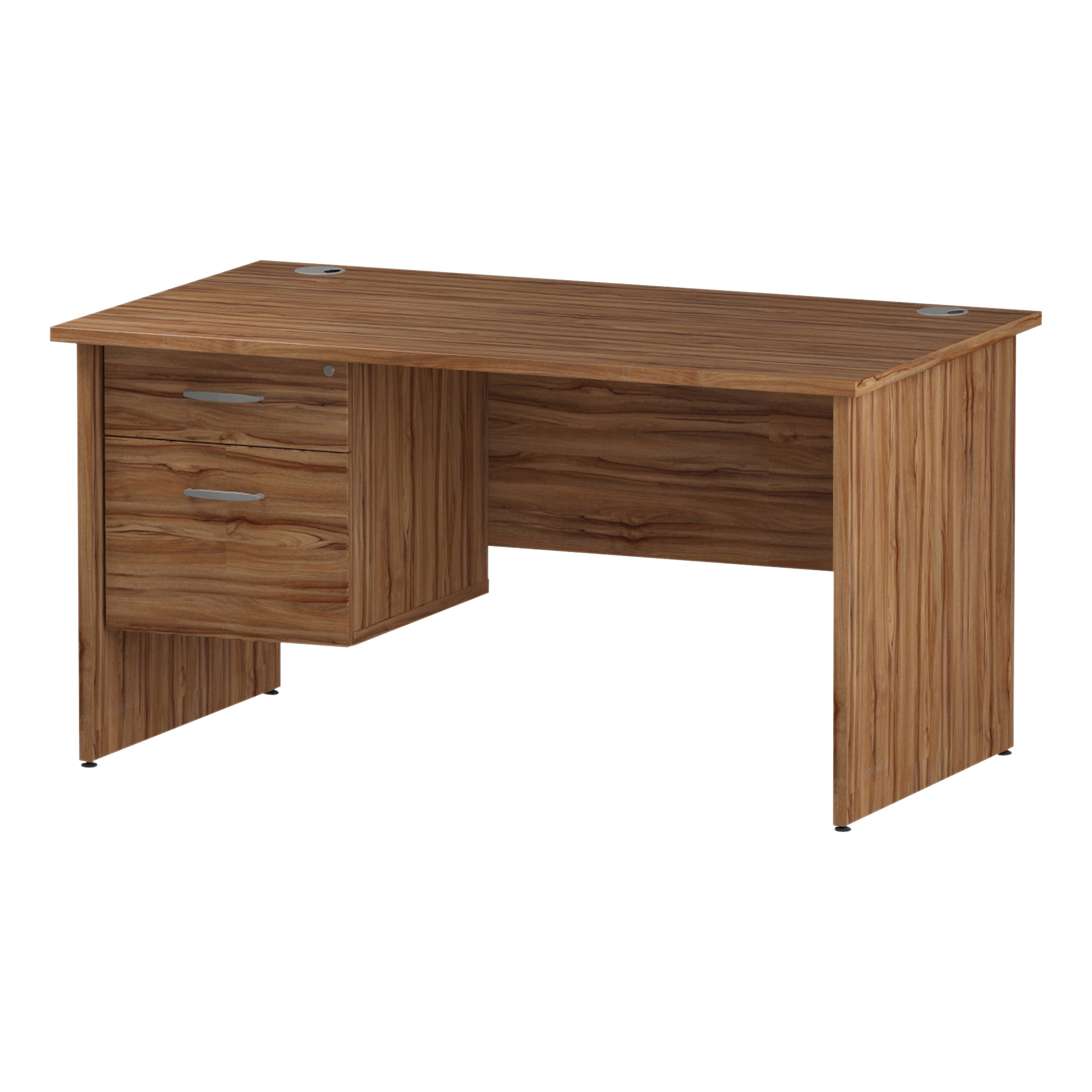 Trexus Rectangular Desk Panel End Leg 1400x800mm Fixed Pedestal 2 Drawers Walnut Ref I001970
