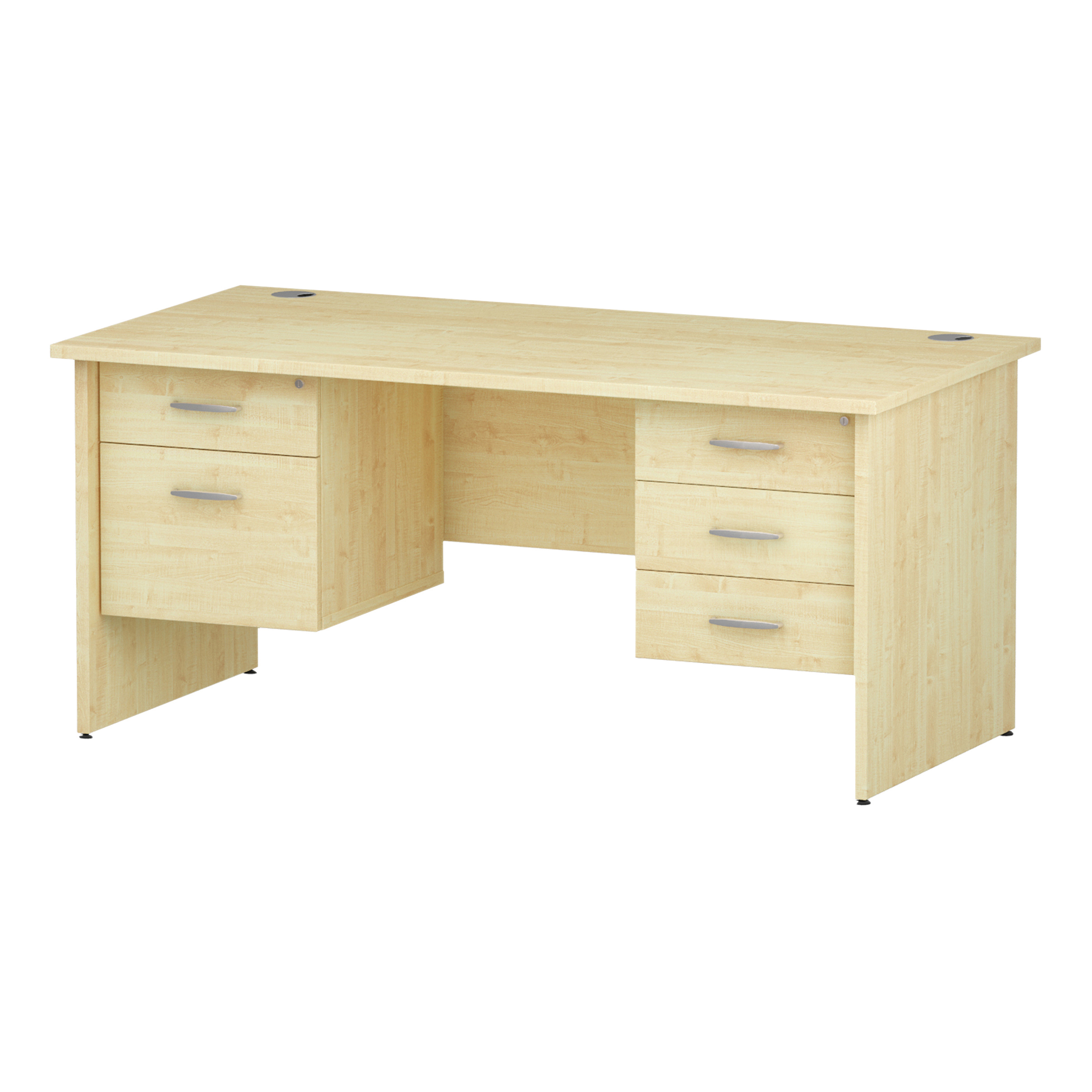 Trexus Rectangular Desk Panel End Leg 1600x800mm Double Fixed Pedestal 2&3 Drawers Maple Ref I002494