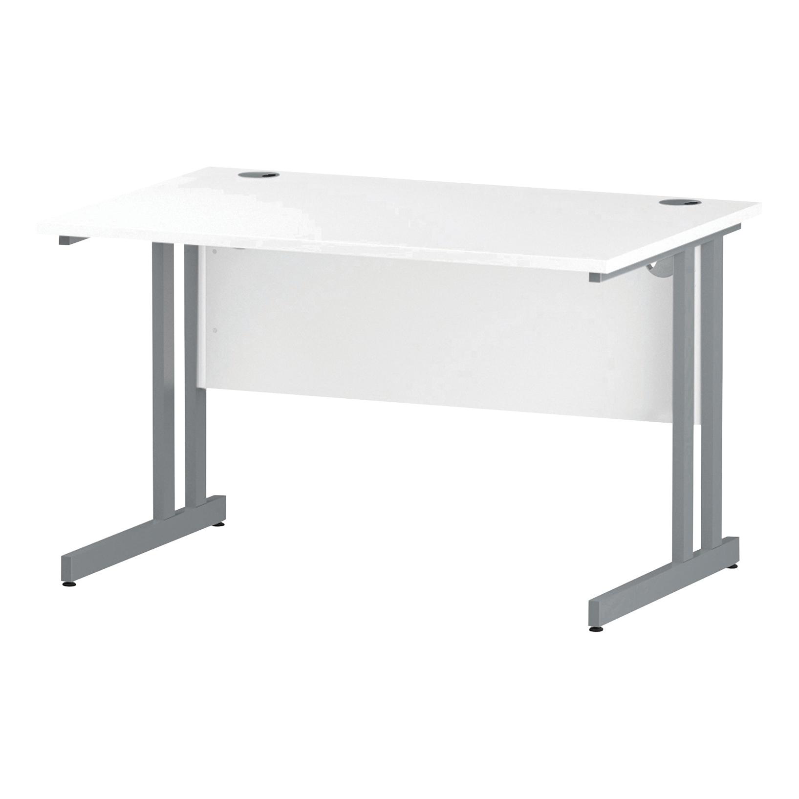 Trexus Rectangular Desk Silver Cantilever Leg 1200x800mm White Ref I000305
