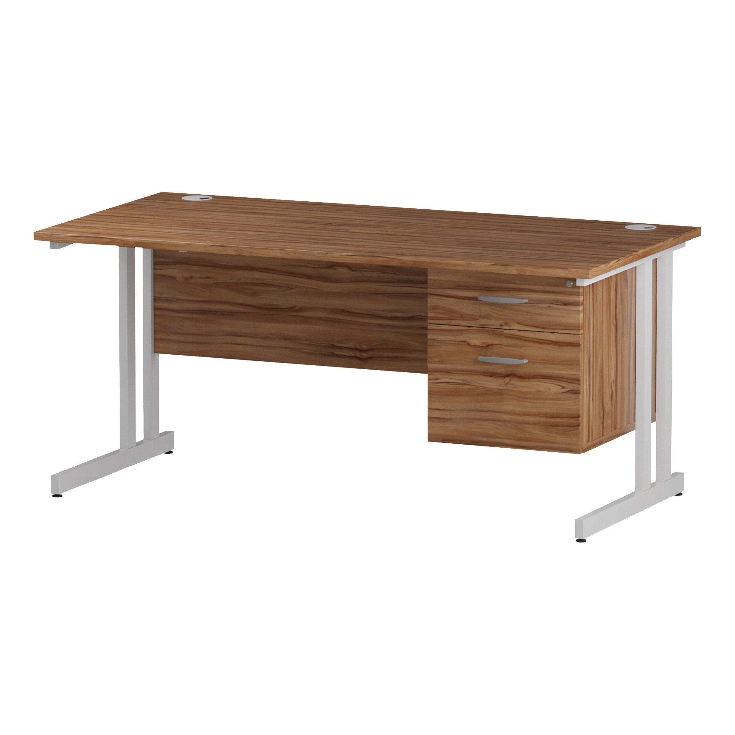Trexus Rectangular Desk White Cantilever Leg 1600x800mm Fixed Pedestal 2 Drawers Walnut Ref I001925