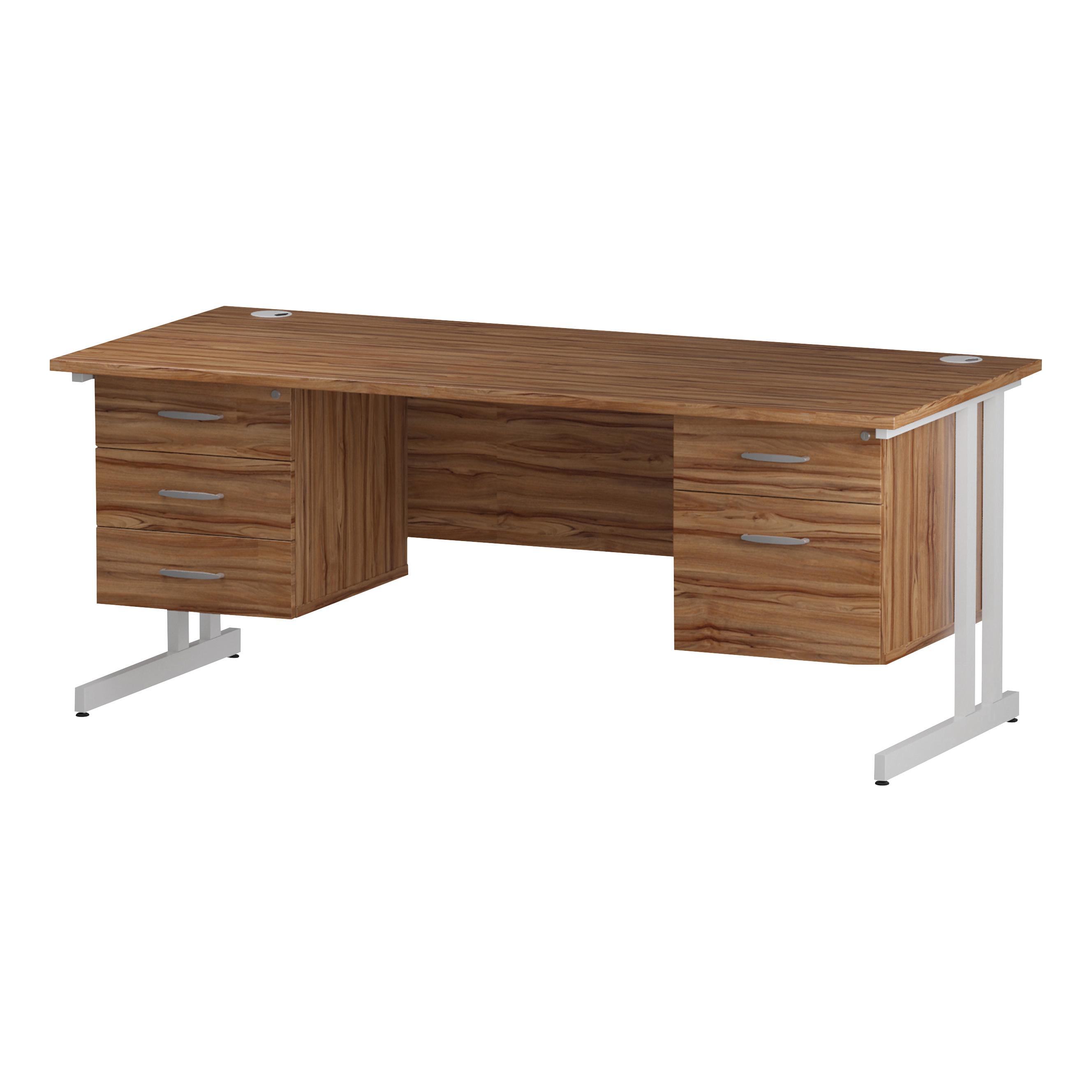 Trexus Rectangular Desk White Cantilever Leg 1800x800mm Double Fixed Ped 2&3 Drawers Walnut Ref I001958