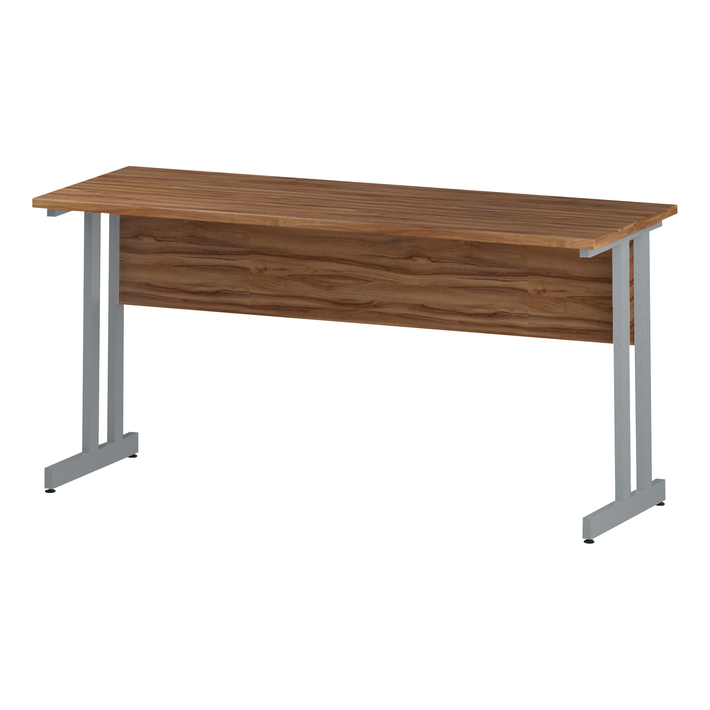 Trexus Rectangular Slim Desk Silver Cantilever Leg 1600x600mm Walnut Ref I001912