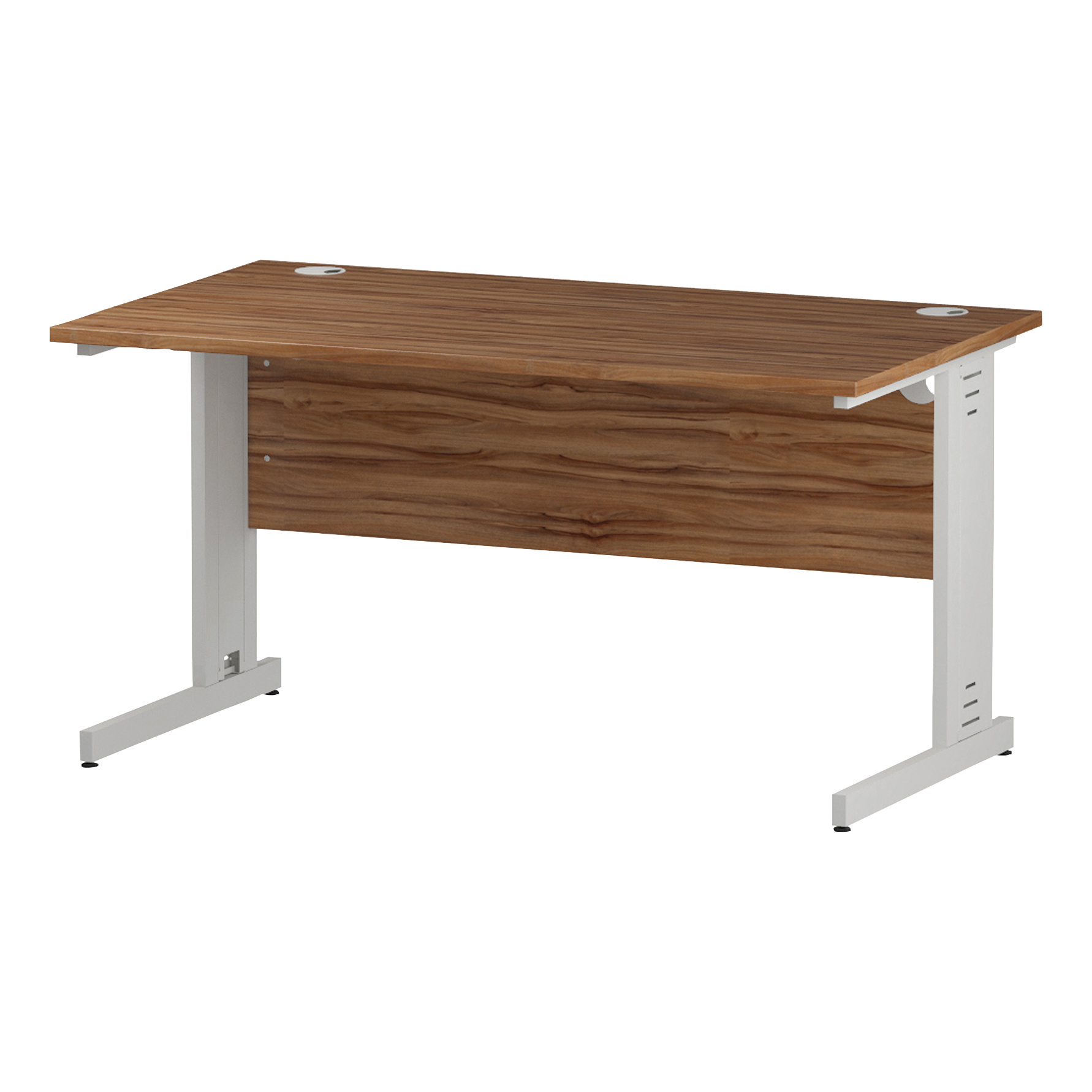 Trexus Rectangular Desk White Cable Managed Leg 1400x800mm Walnut Ref I001996