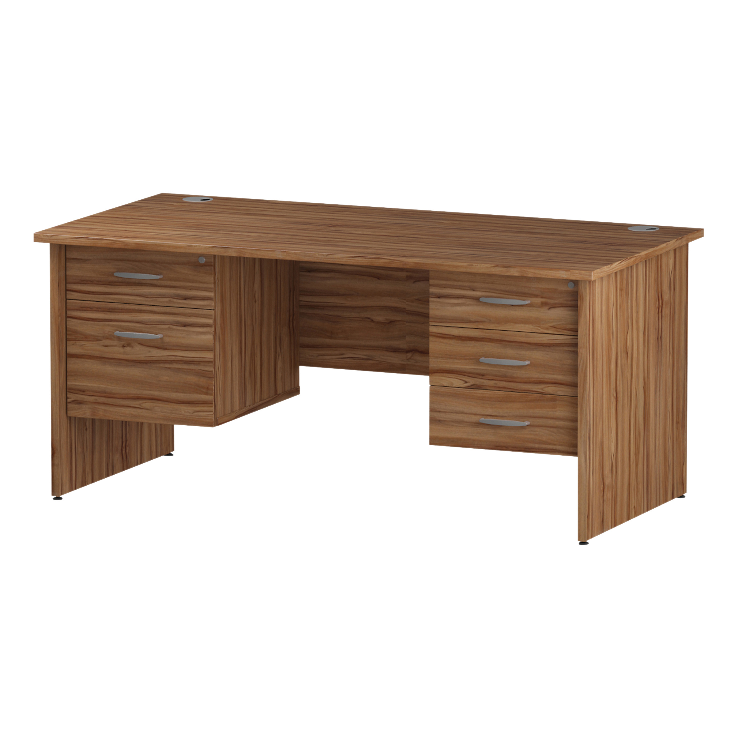 Trexus Rectangular Desk Panel End Leg 1600x800mm Double Fixed Pedestal 2&3 Drawers Walnut Ref I001987