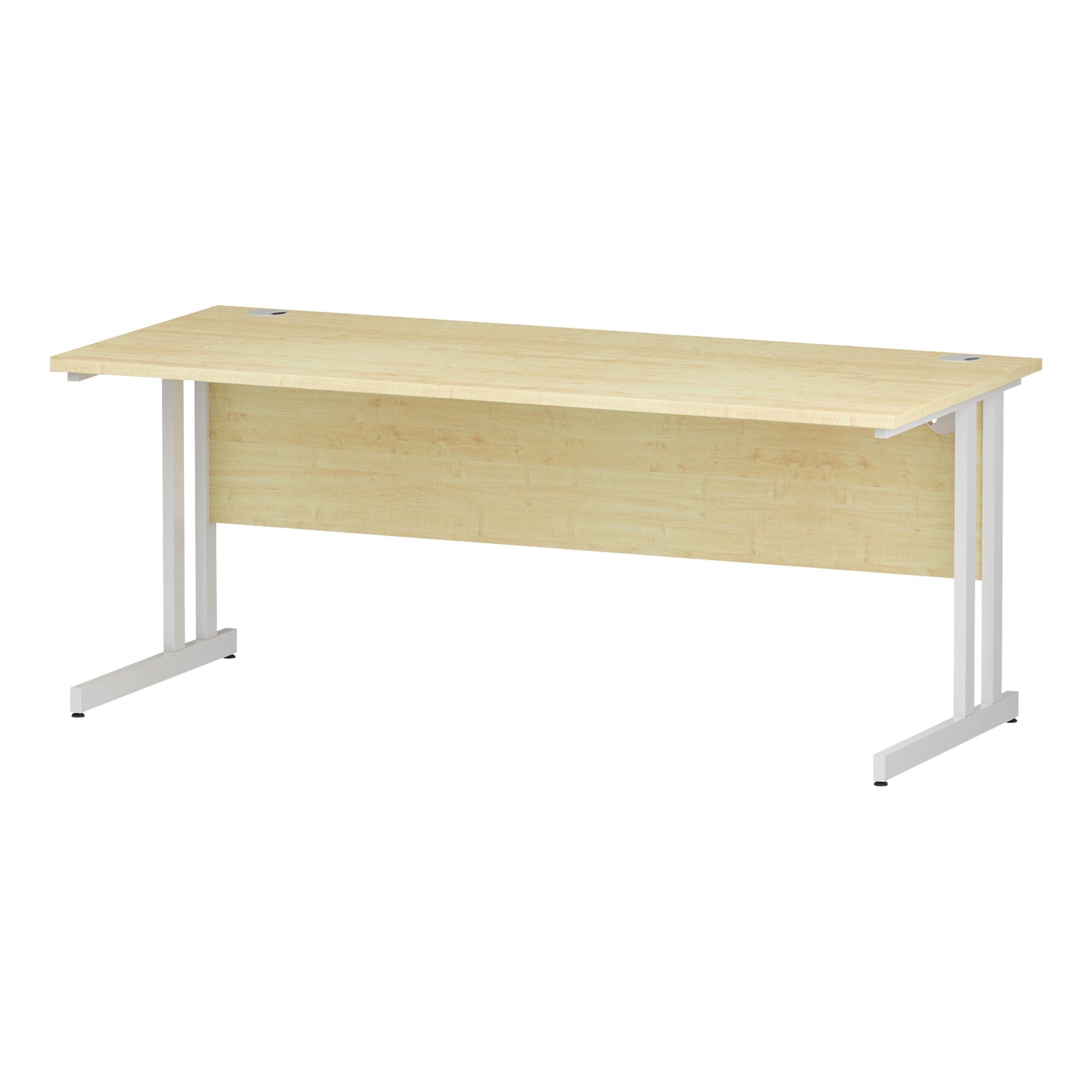 Trexus Rectangular Desk White Cantilever Leg 1800x800mm Maple Ref I002420