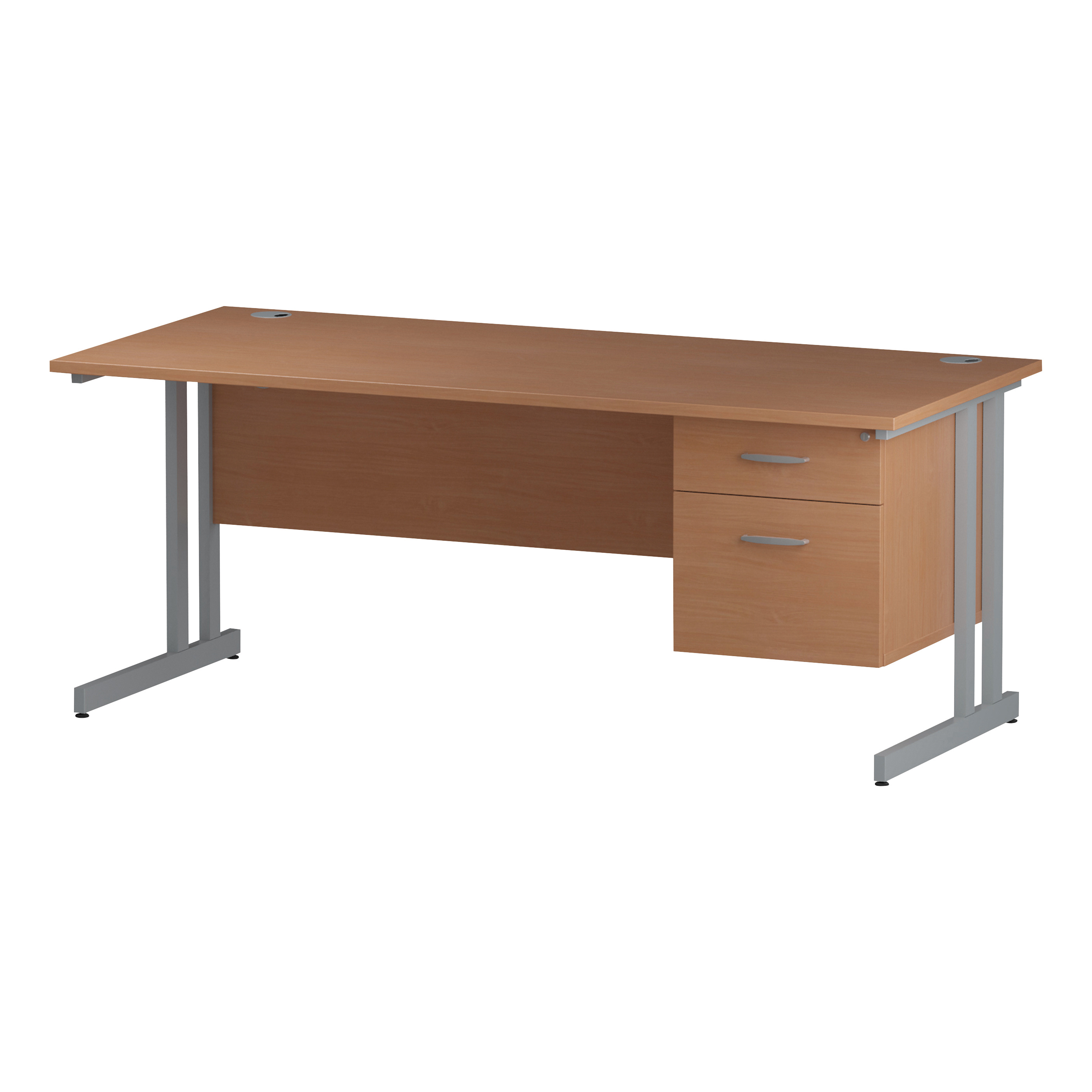 Trexus Rectangular Desk Silver Cantilever Leg 1800x800mm Fixed Pedestal 2 Drawers Beech Ref I001691