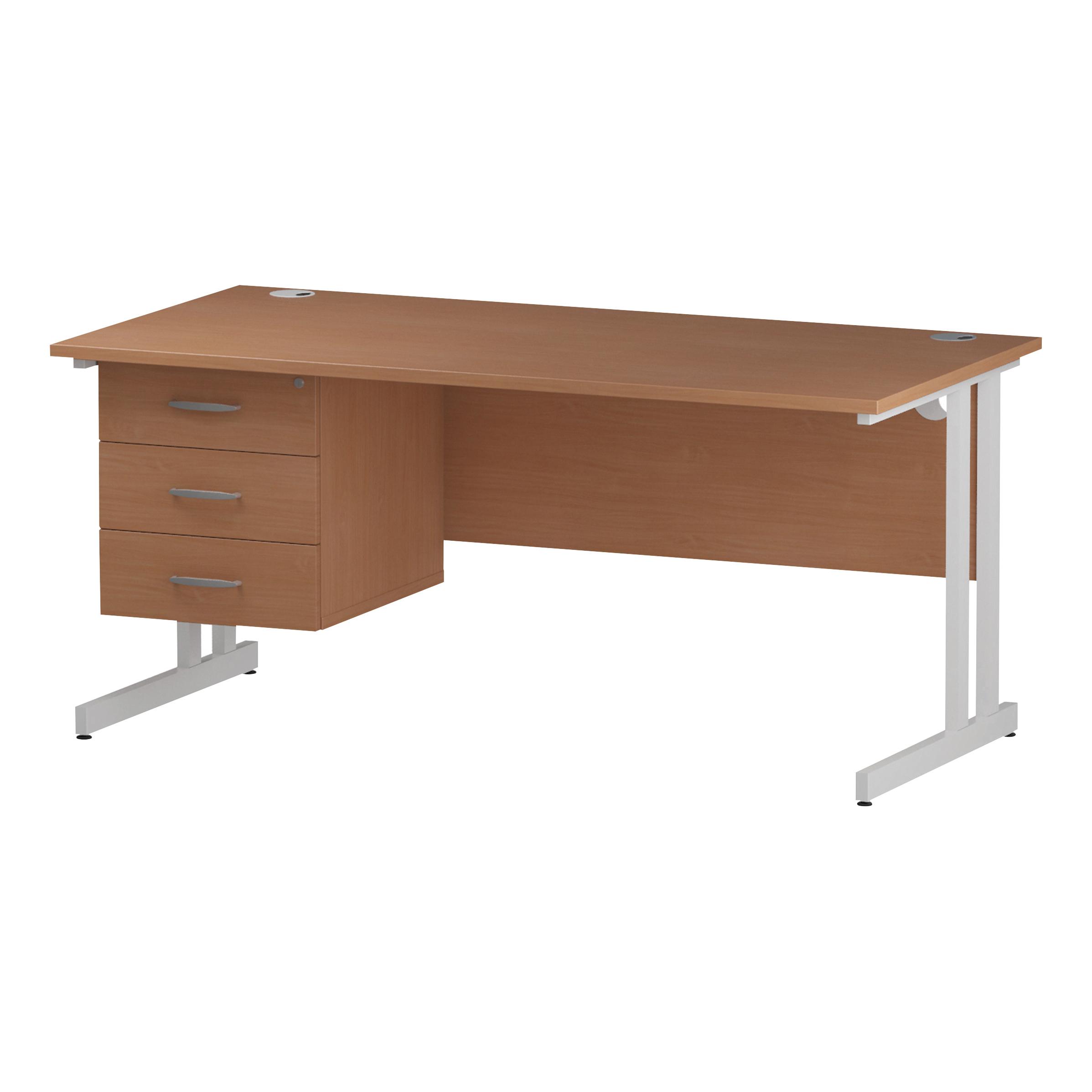 Trexus Rectangular Desk White Cantilever Leg 1600x800mm Fixed Pedestal 3 Drawers Beech Ref I001702