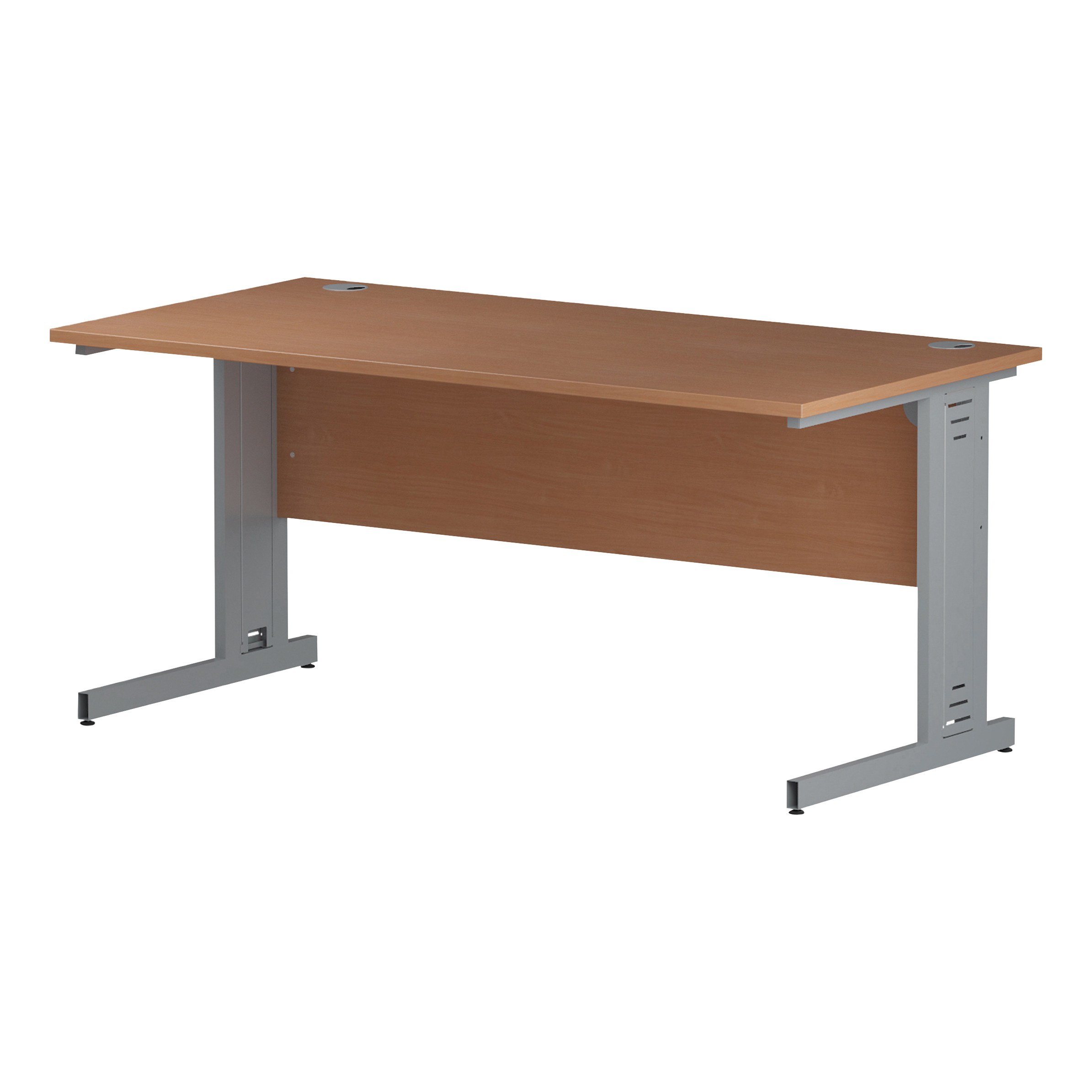 Trexus Rectangular Desk Silver Cable Managed Leg 1600x800mm Beech Ref I000461
