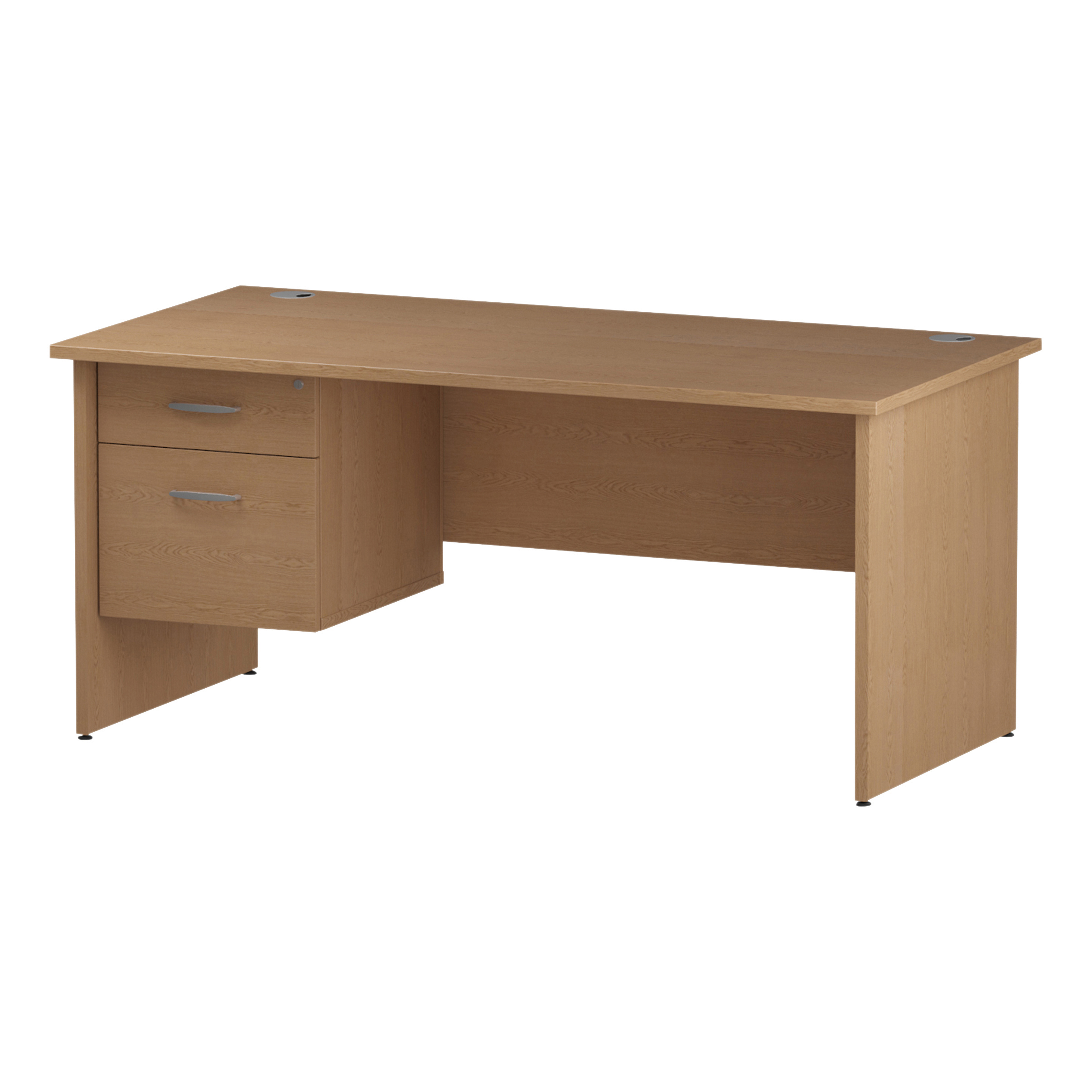 Trexus Rectangular Desk Panel End Leg 1600x800mm Fixed Pedestal 2 Drawers Oak Ref I002704