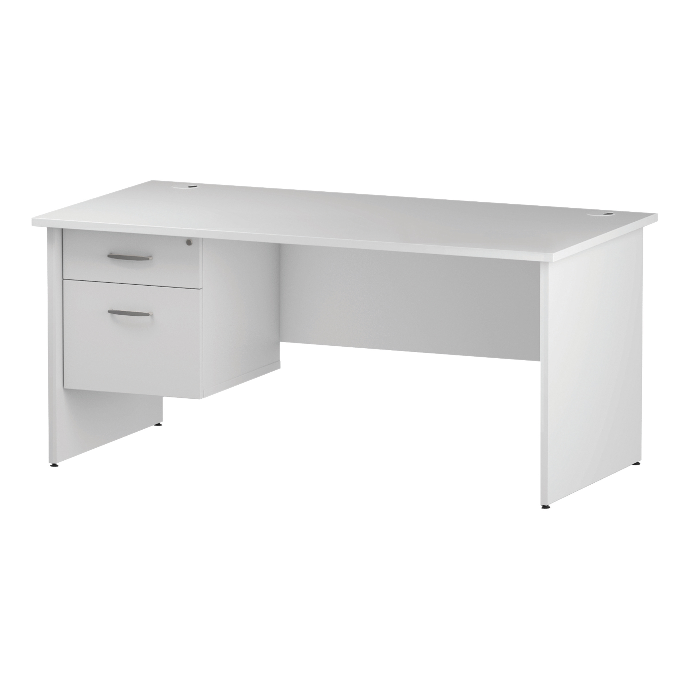 Trexus Rectangular Desk Panel End Leg 1600x800mm Fixed Pedestal 2 Drawers White Ref I002252