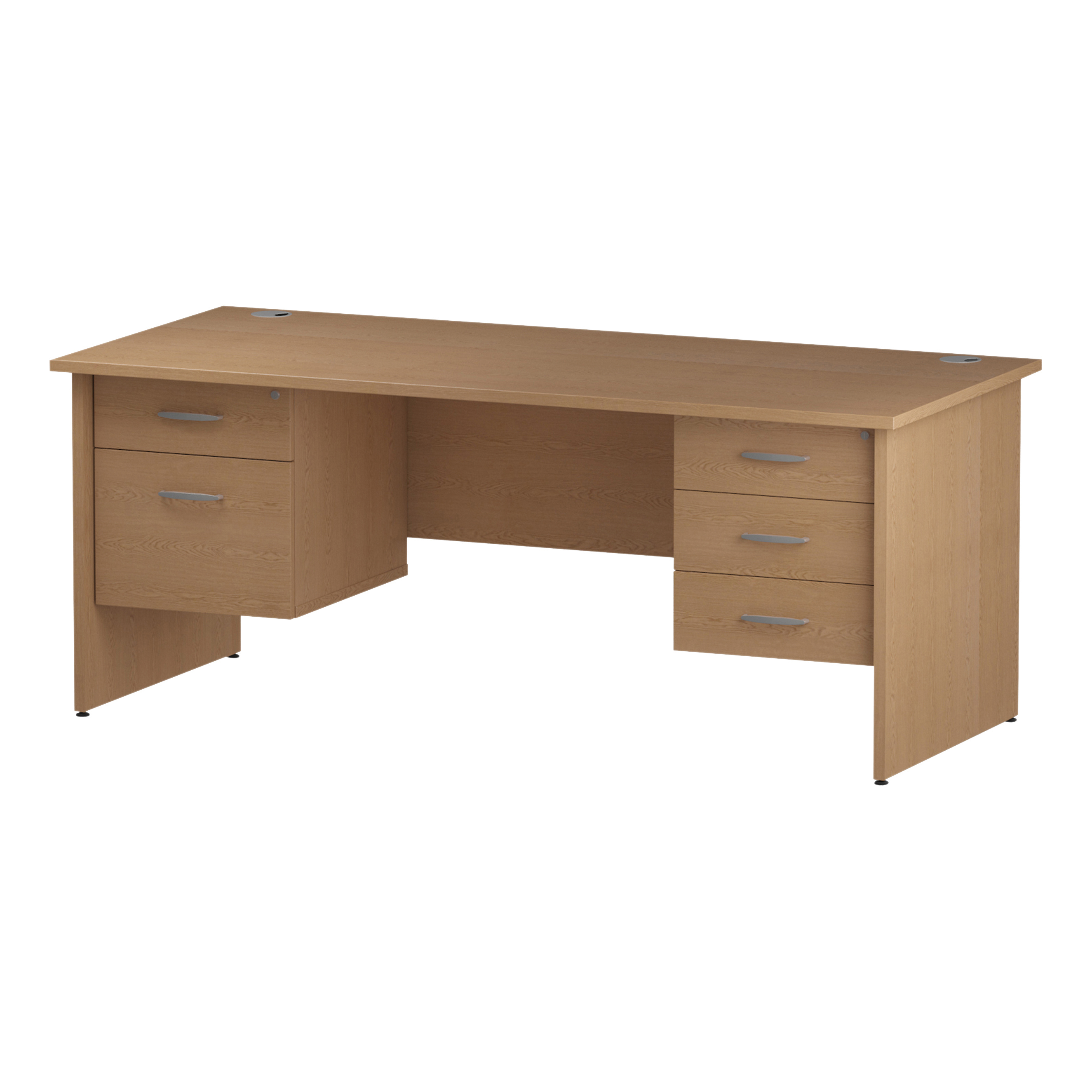 Trexus Rectangular Desk Panel End Leg 1800x800mm Double Fixed Pedestal 2&3 Drawers Oak Ref I002721