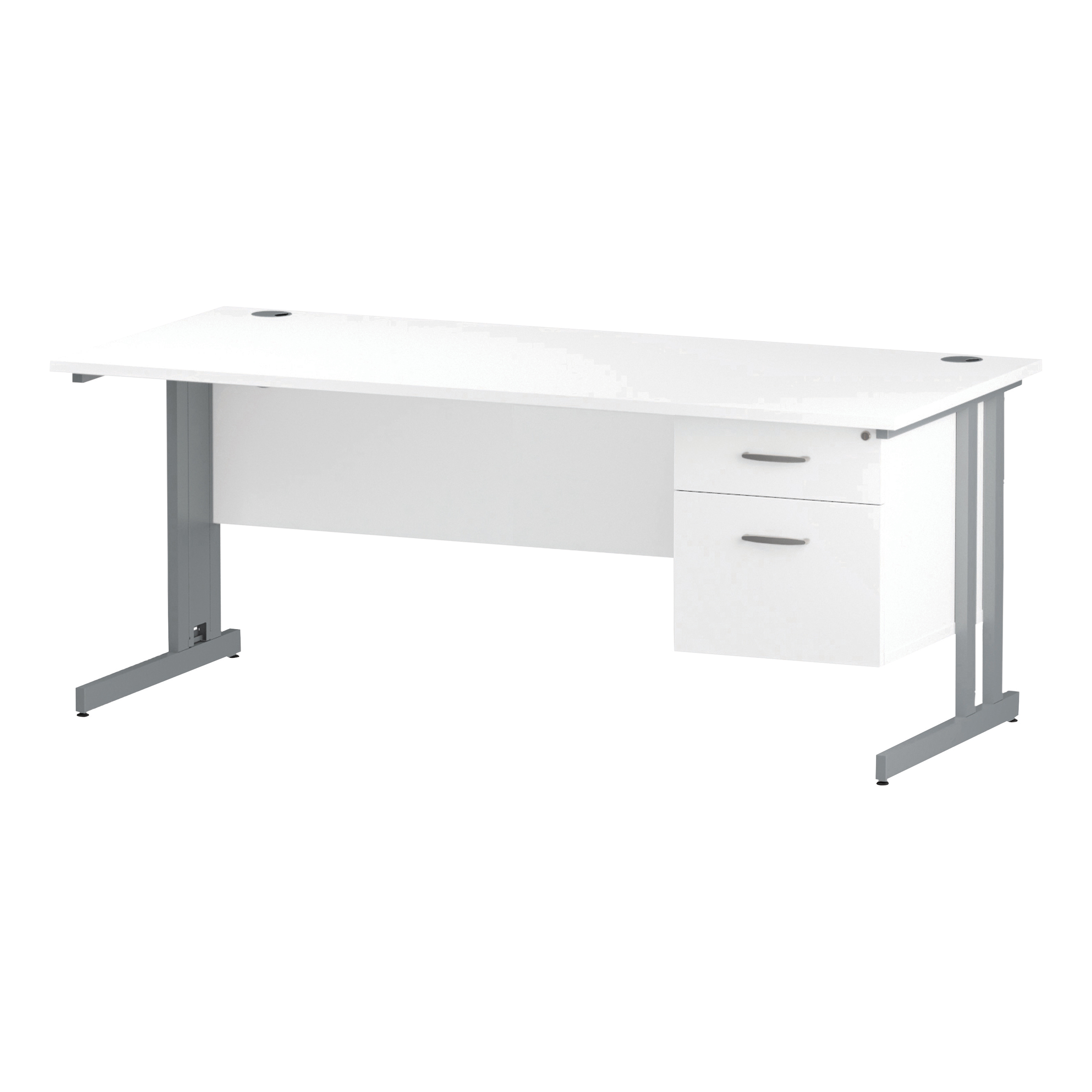 Trexus Rectangular Desk Silver Cantilever Leg 1800x800mm Fixed Pedestal 2 Drawers White Ref I002208