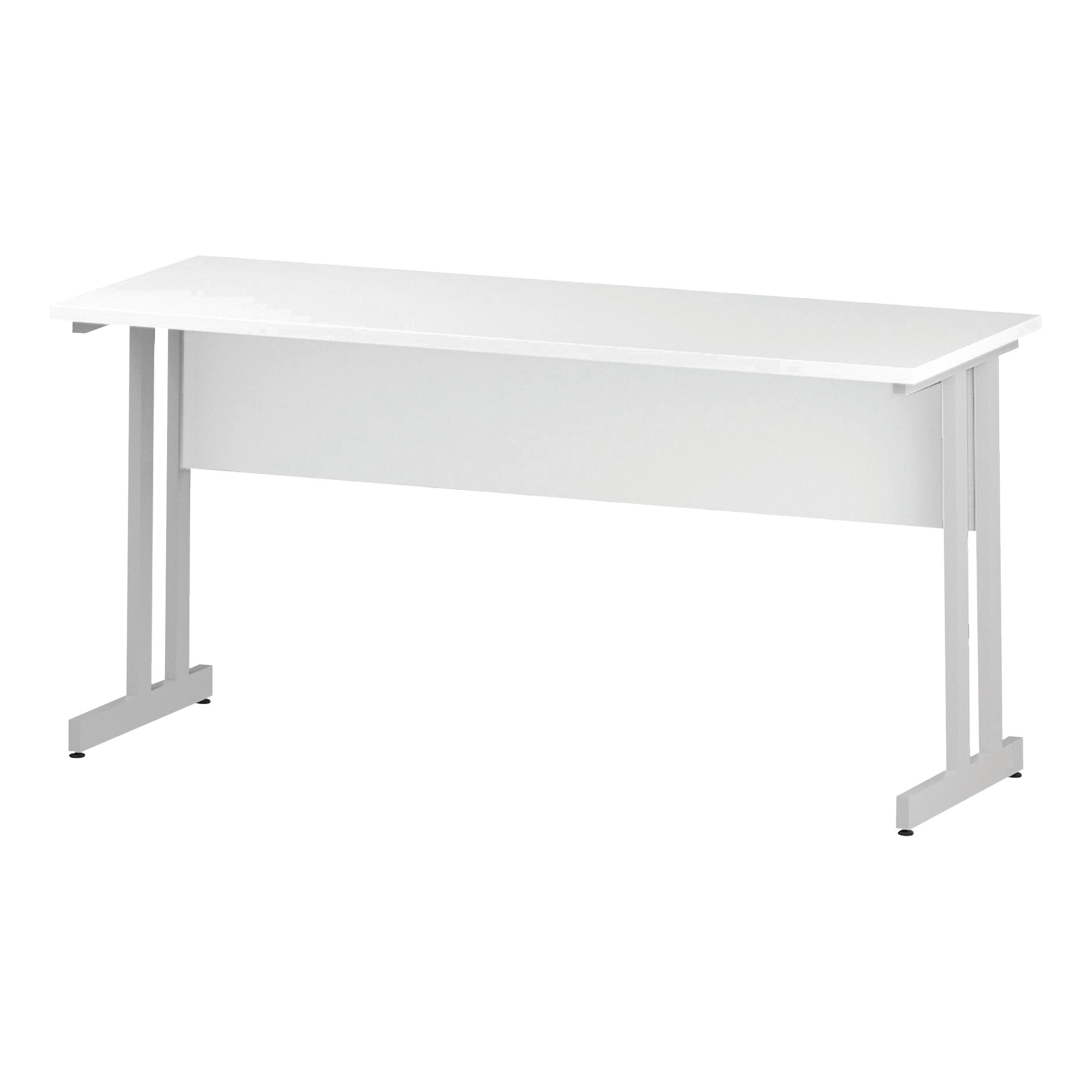 Trexus Rectangular Slim Desk White Cantilever Leg 1600x600mm White Ref I002203