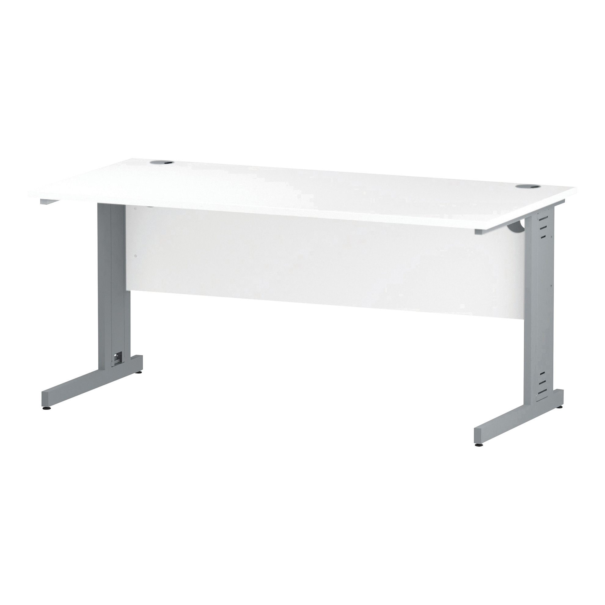 Trexus Rectangular Desk Silver Cable Managed Leg 1600x800mm White Ref I000480