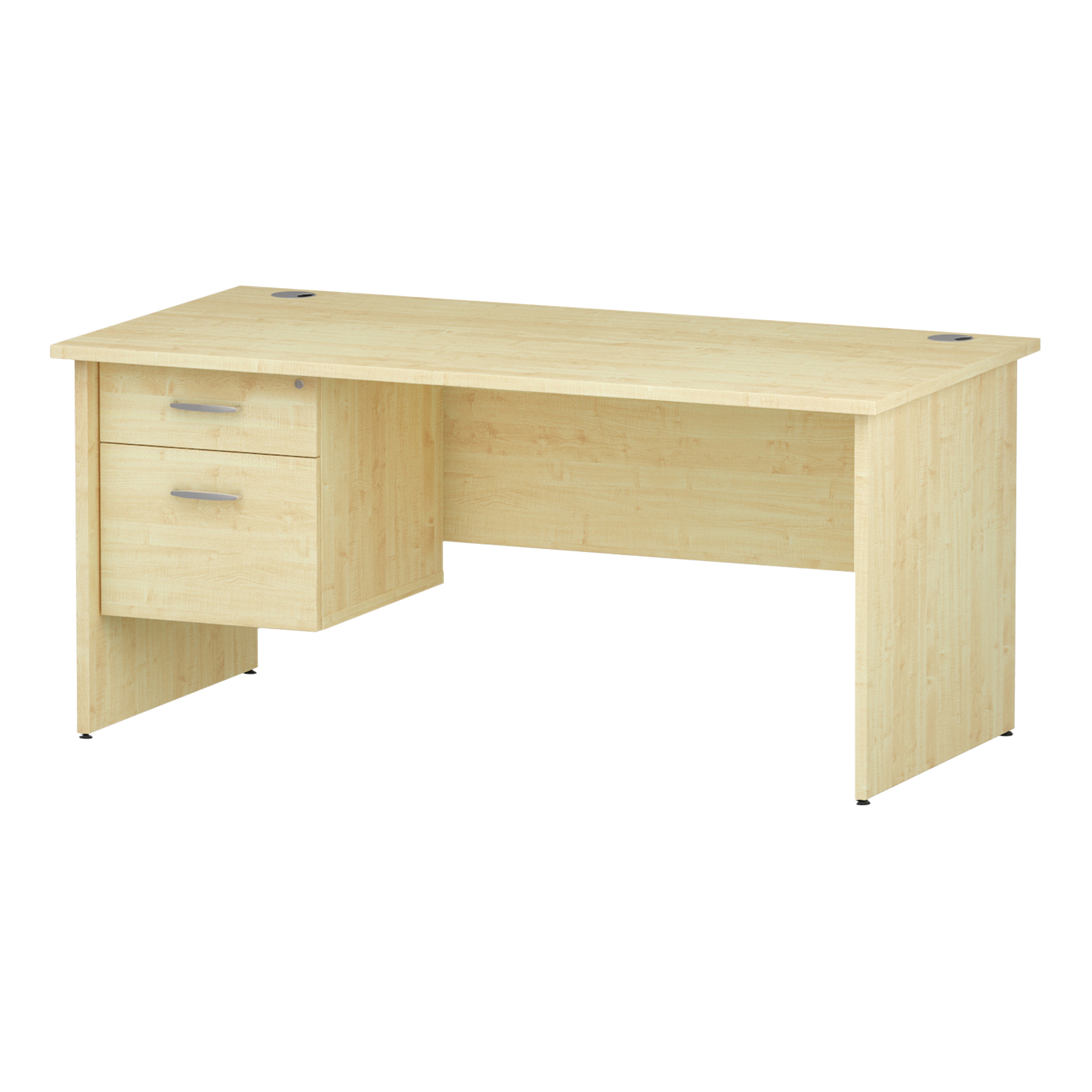Trexus Rectangular Desk Panel End Leg 1600x800mm Fixed Pedestal 2 Drawers Maple Ref I002478