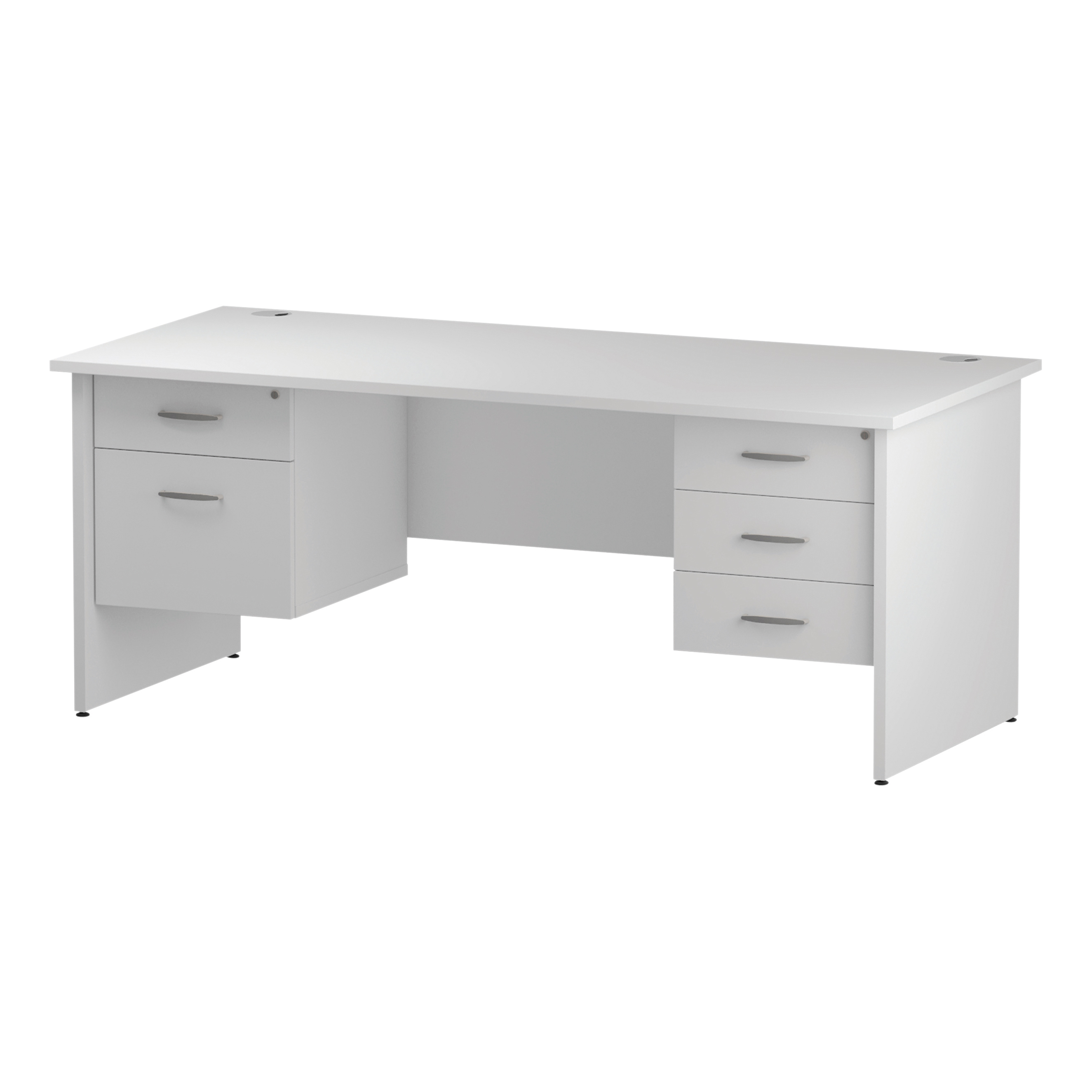 Trexus Rectangular Desk Panel End Leg 1800x800mm Double Fixed Pedestal 2&3 Drawers White Ref I002269
