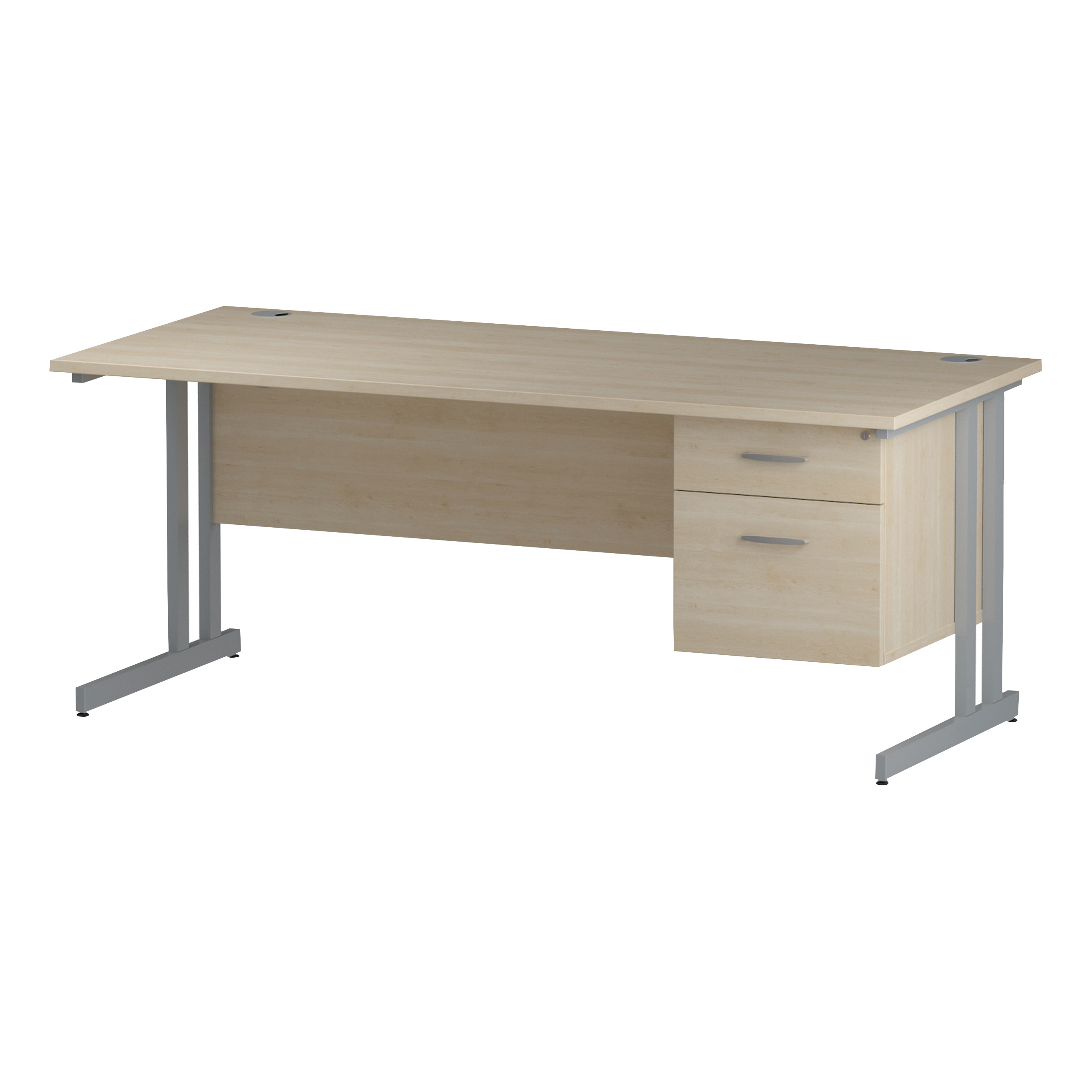 Trexus Rectangular Desk Silver Cantilever Leg 1800x800mm Fixed Pedestal 2 Drawers Maple Ref I002434
