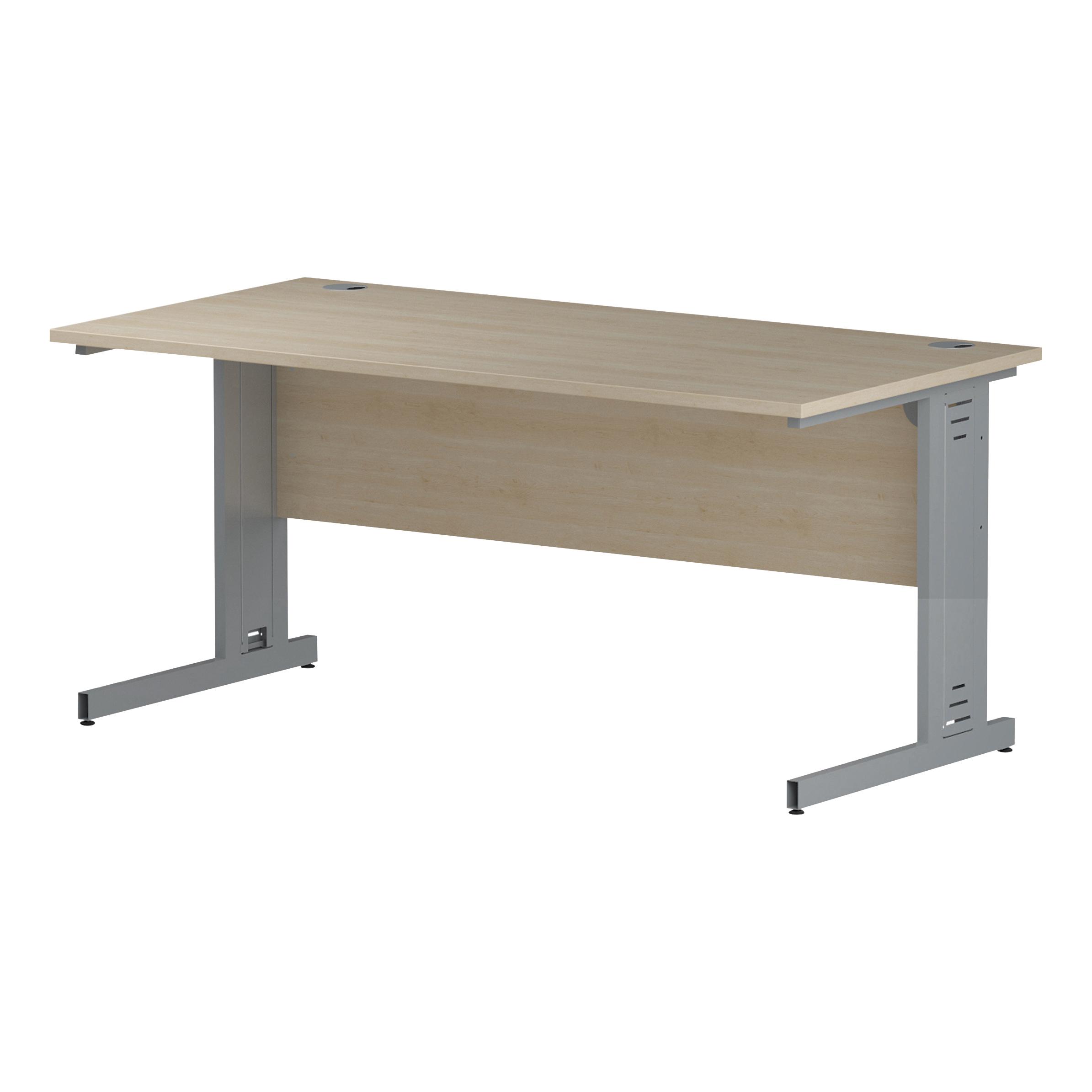 Trexus Rectangular Desk Silver Cable Managed Leg 1600x800mm Maple Ref I000518
