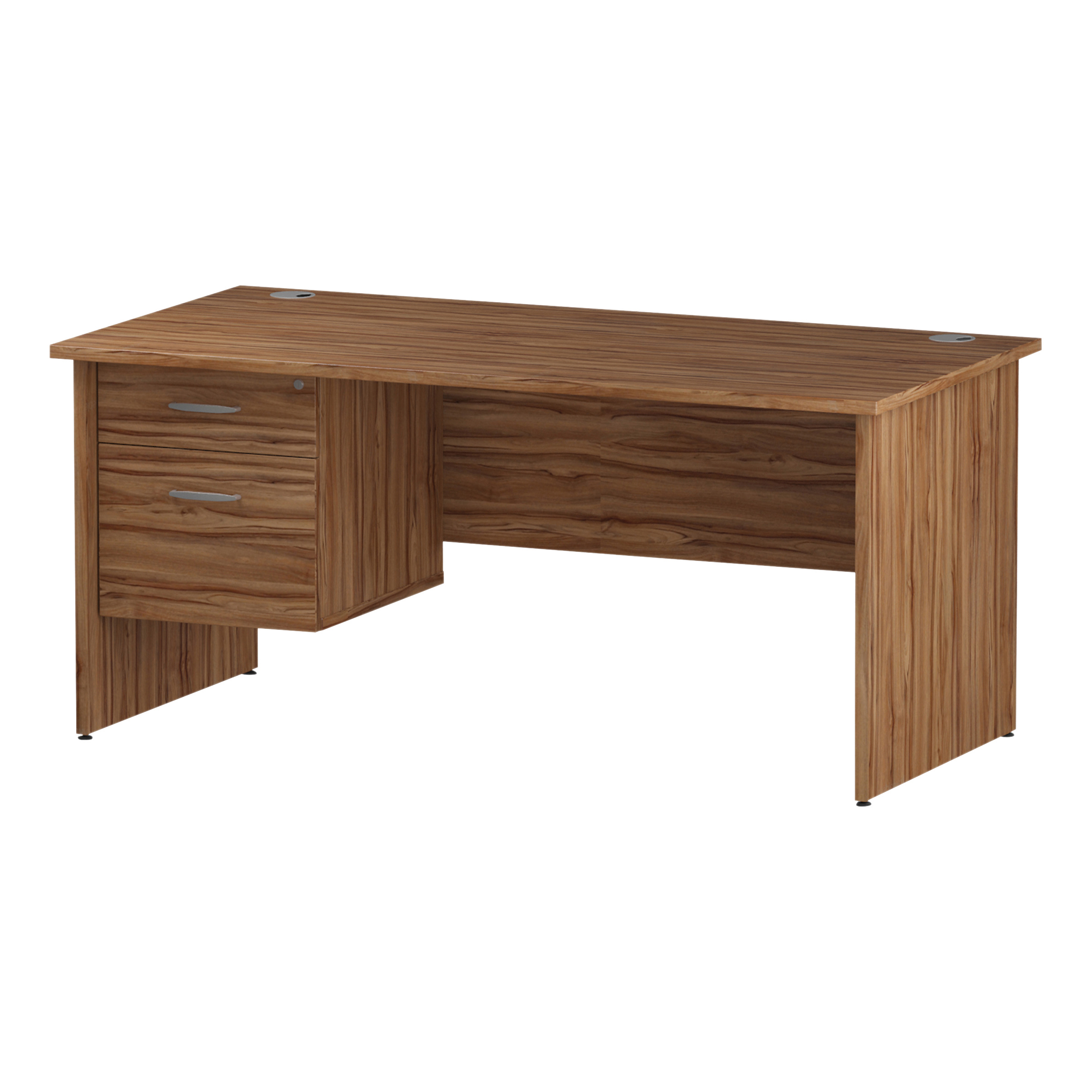 Trexus Rectangular Desk Panel End Leg 1600x800mm Fixed Pedestal 2 Drawers Walnut Ref I001971