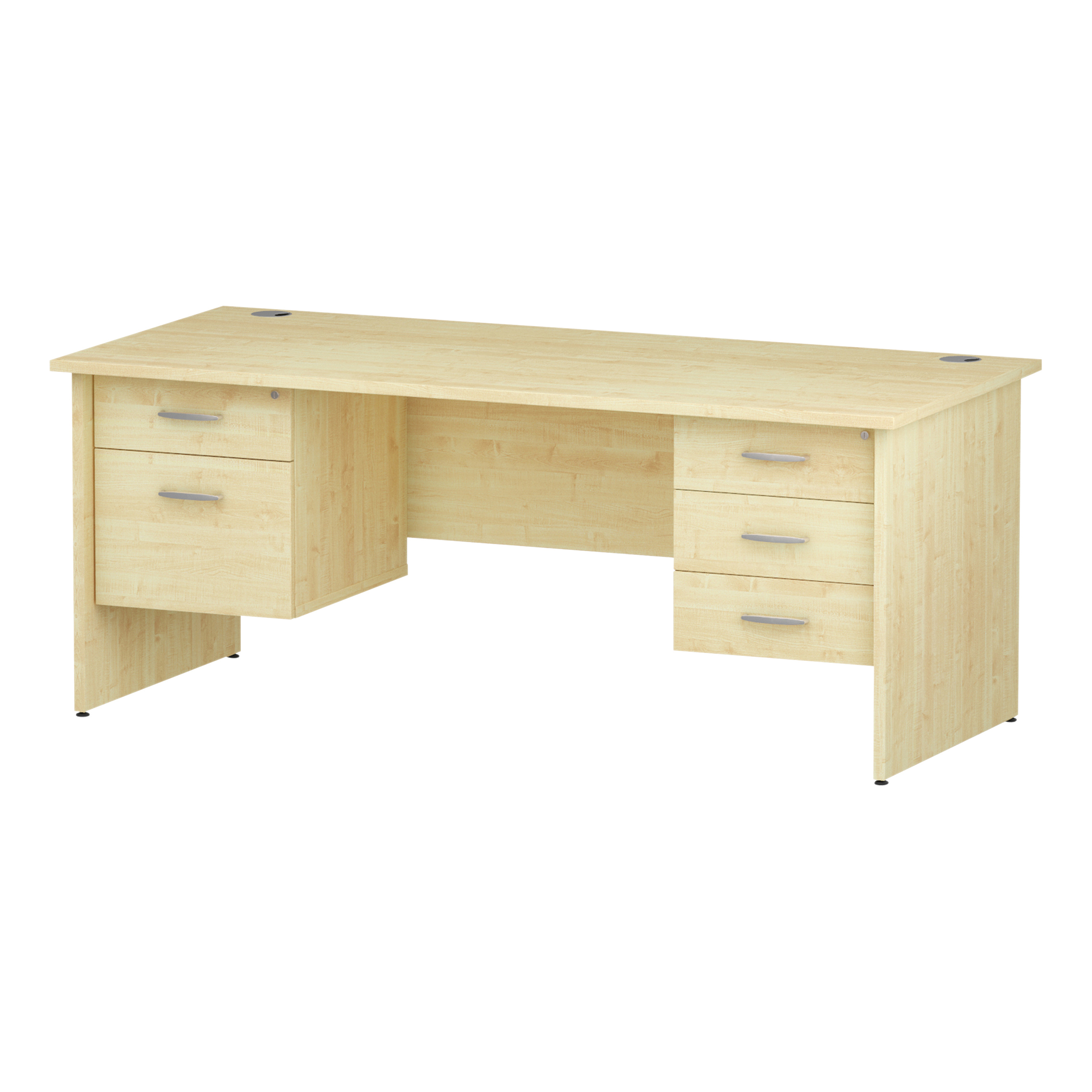 Trexus Rectangular Desk Panel End Leg 1800x800mm Double Fixed Pedestal 2&3 Drawers Maple Ref I002495